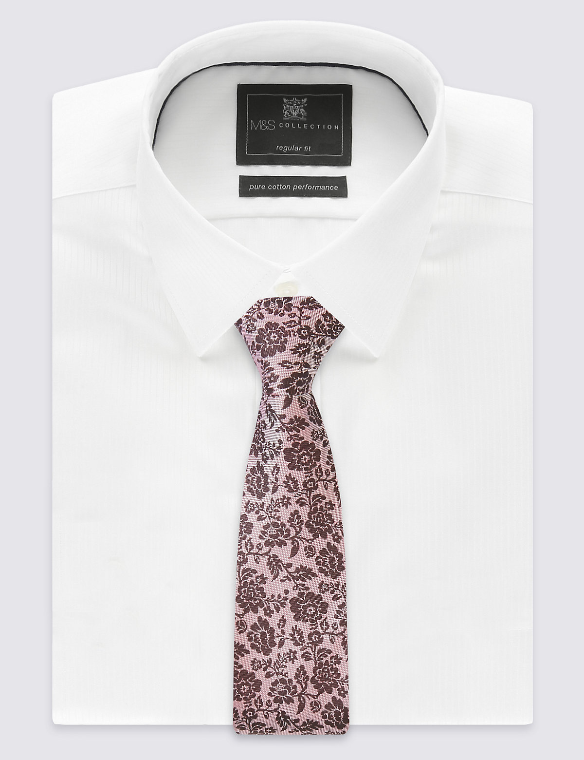 M&S Collection Pure Silk Textured Floral Tie