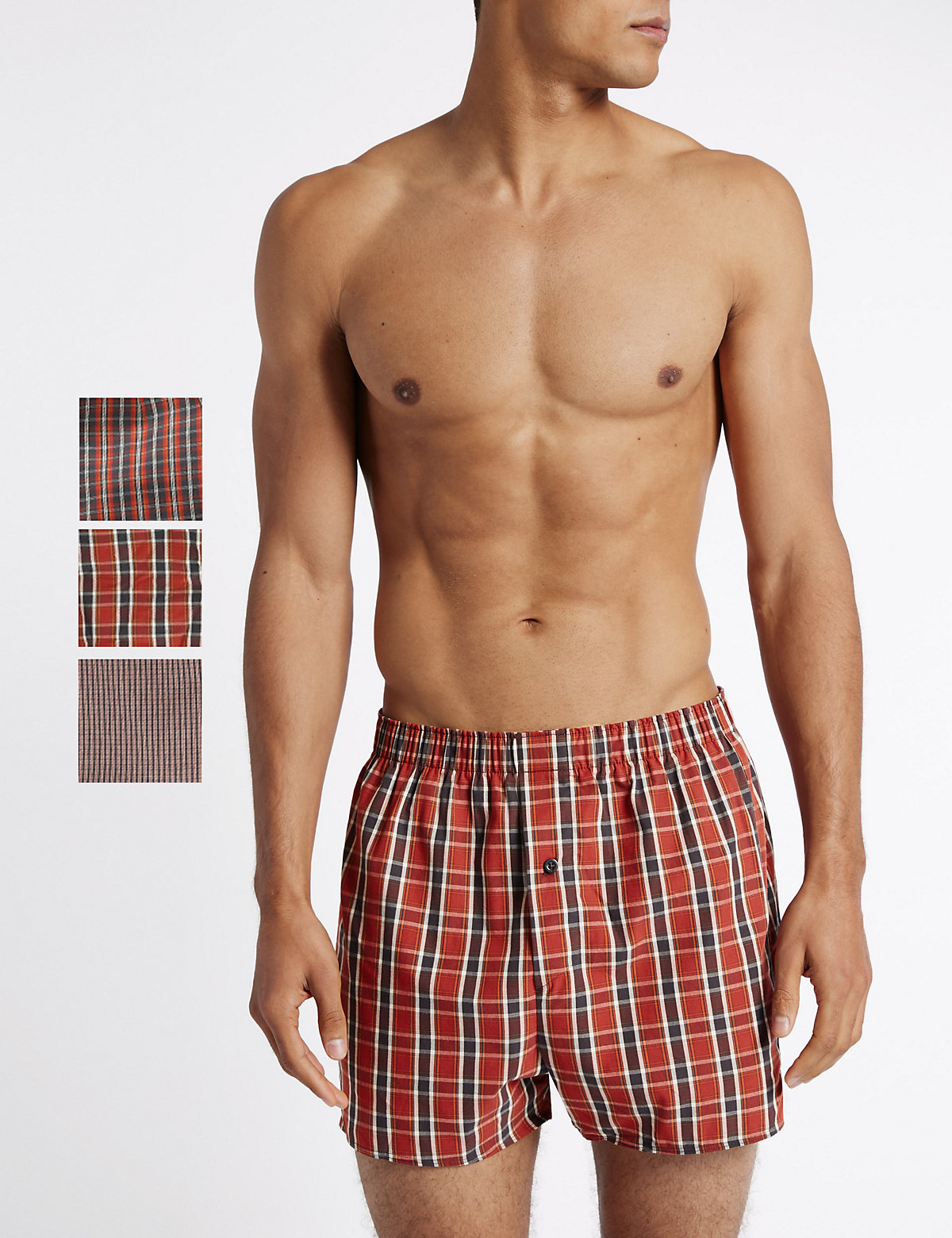Image of M&S Collection 3 Pack Pure Cotton Checked Boxers