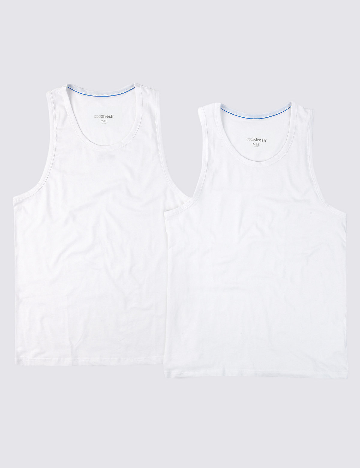 M&S Collection XXXL 2 Pack 4-Way Stretch Cotton Vests with StayNEW