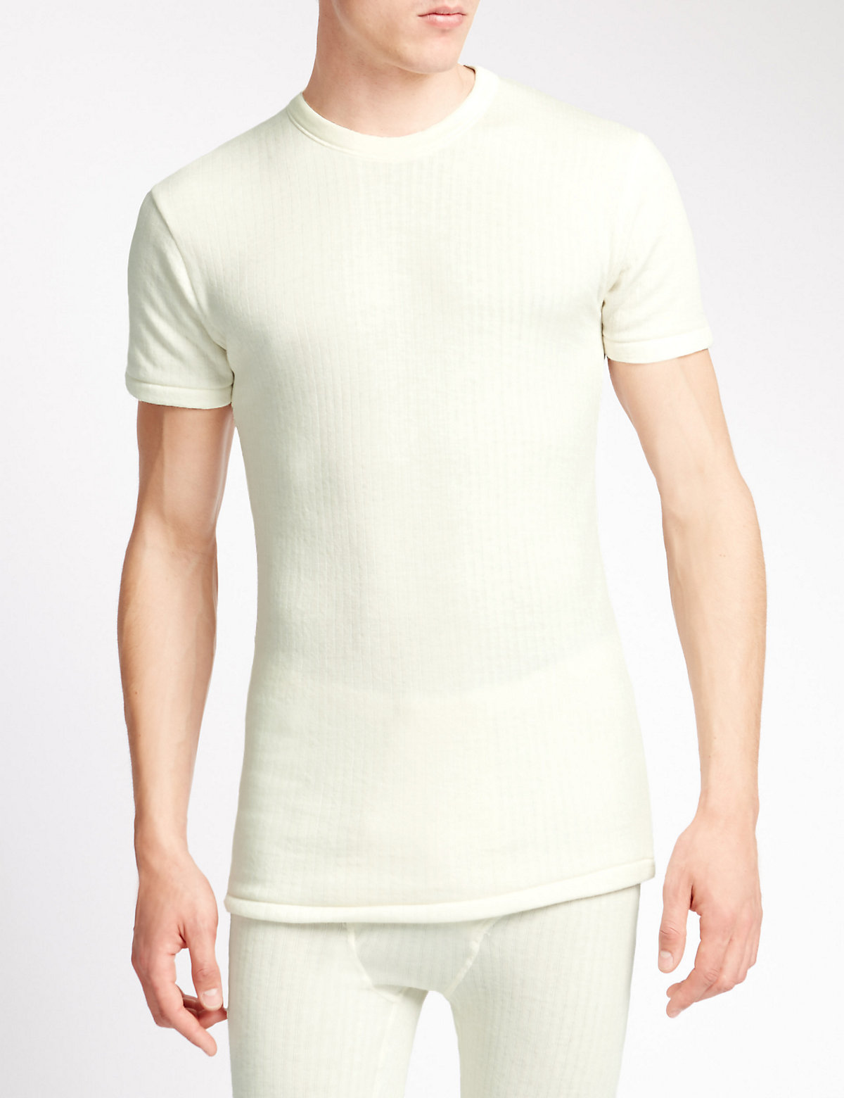 M&S Collection Short Sleeve Ribbed Thermal Vest with Merino Wool