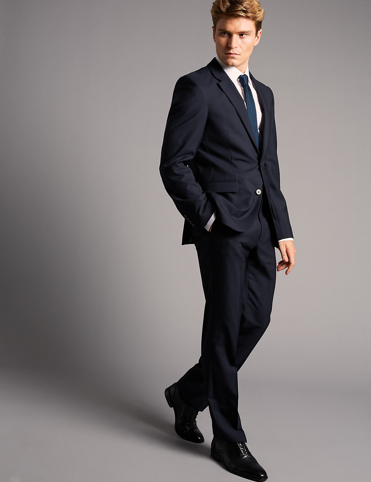 Autograph Navy Tailored Fit Wool Jacket