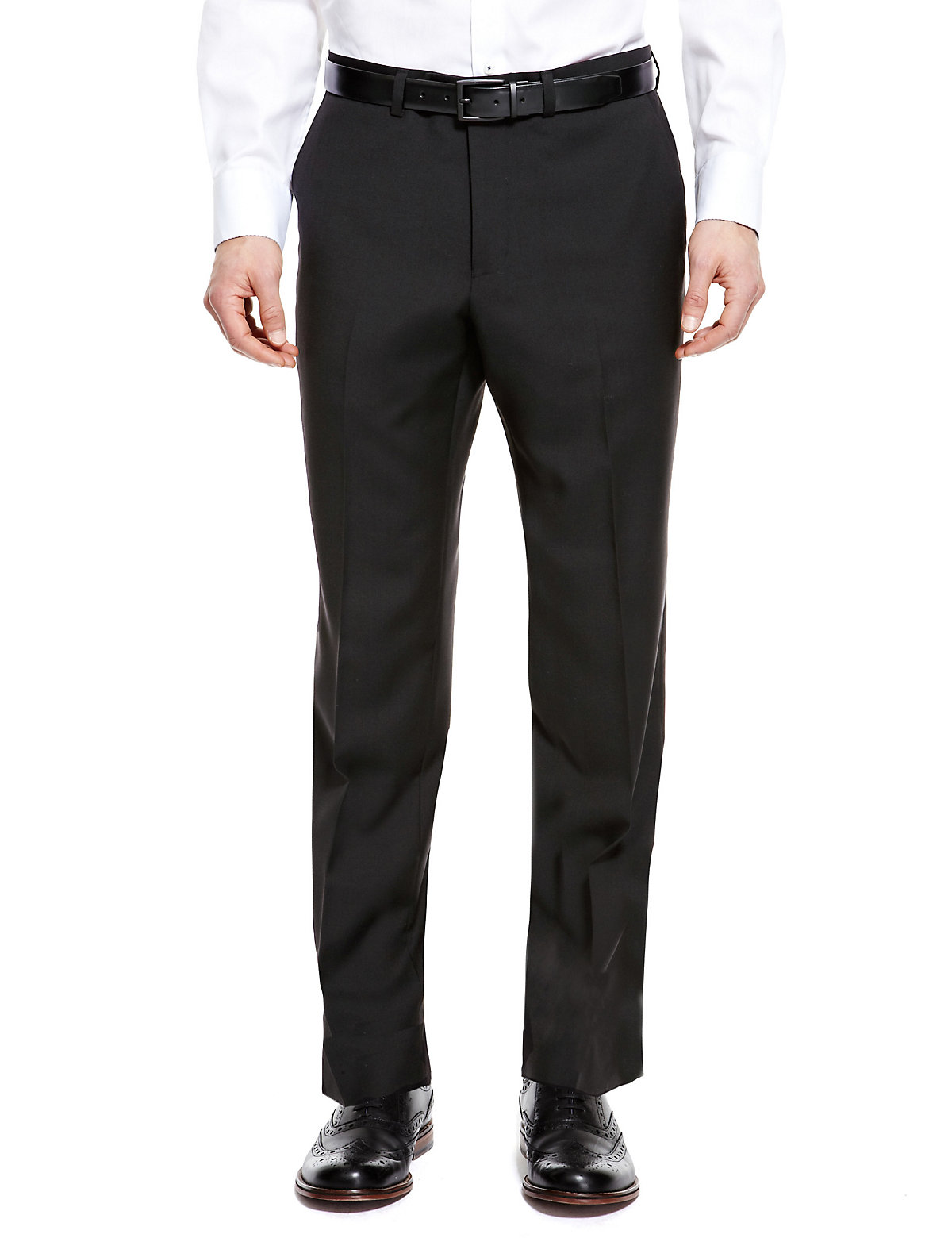 Mens Trousers MS Autograph Pure Wool Supercrease Flat Front Trousers Black 3433in