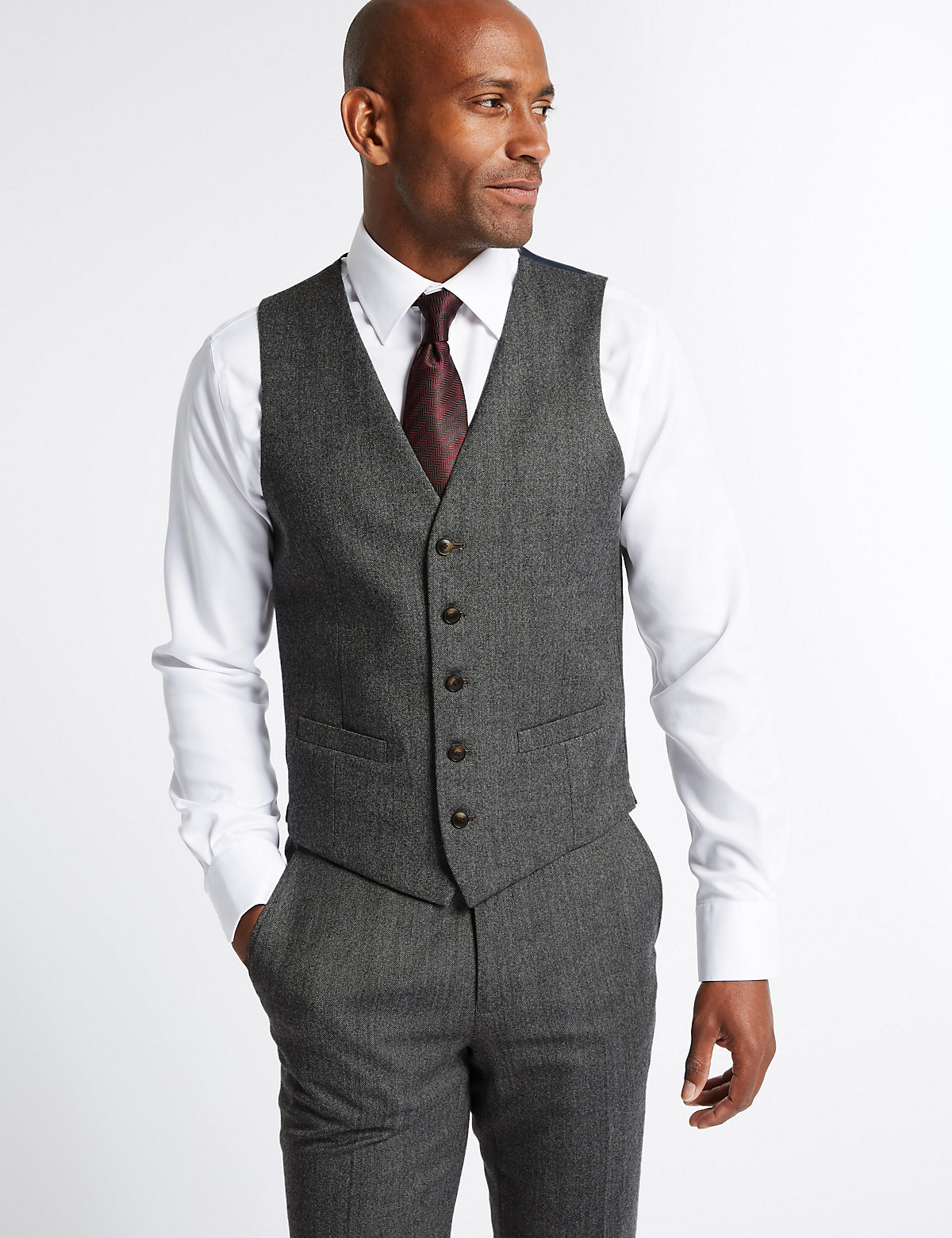 M&S Collection Grey Textured Slim Fit Waistcoat