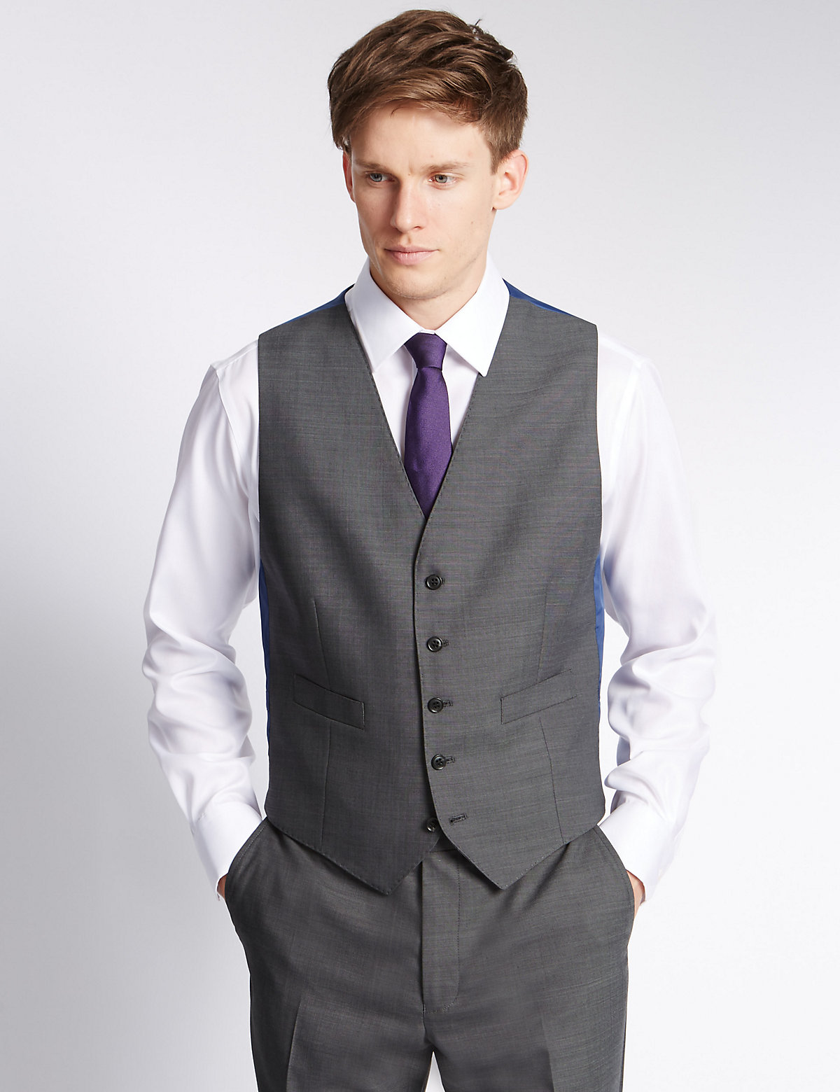M&S Collection Grey Tailored Fit Waistcoat