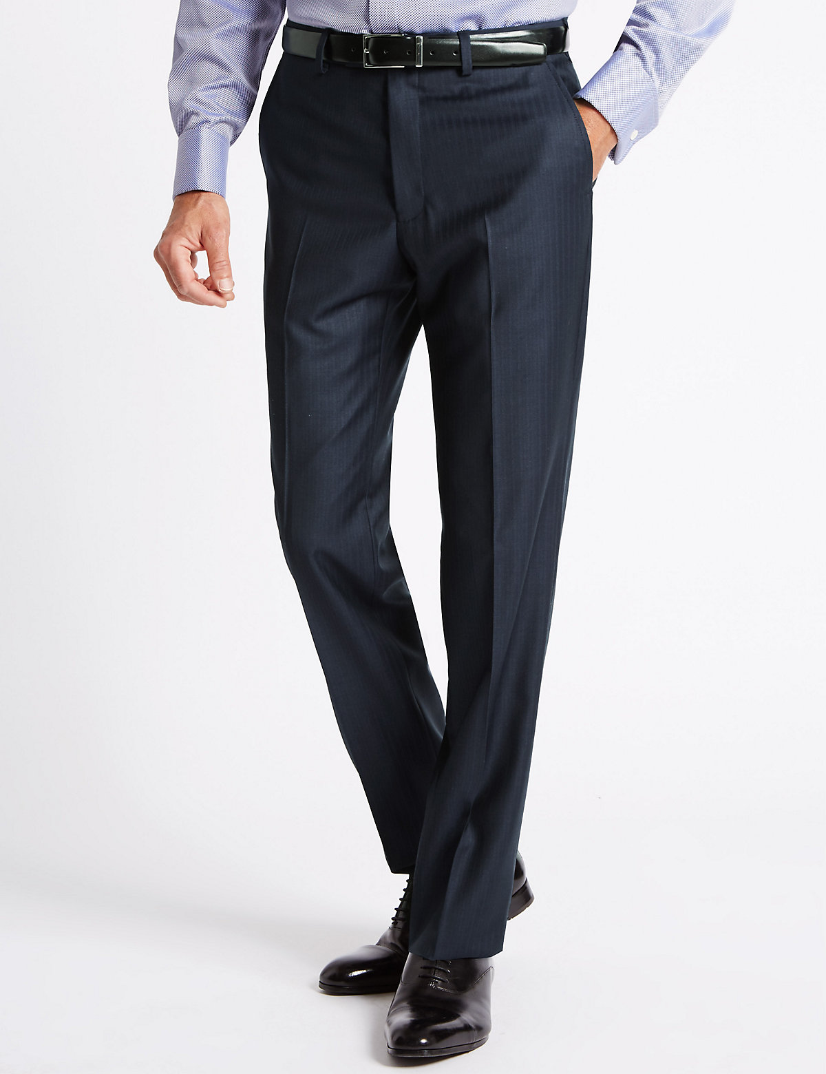 Savile Row Inspired Navy Striped Tailored Fit Trousers