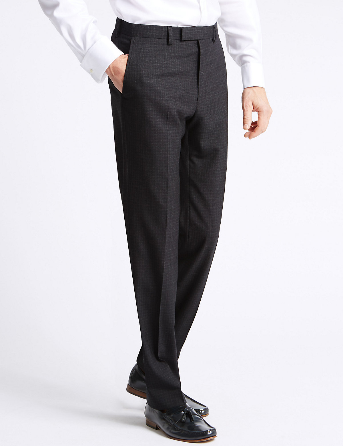 Savile Row Inspired Grey Checked Tailored Fit Trousers