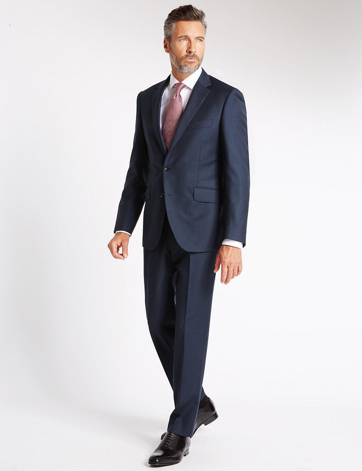 Savile Row Inspired Indigo Textured Tailored Fit Jacket