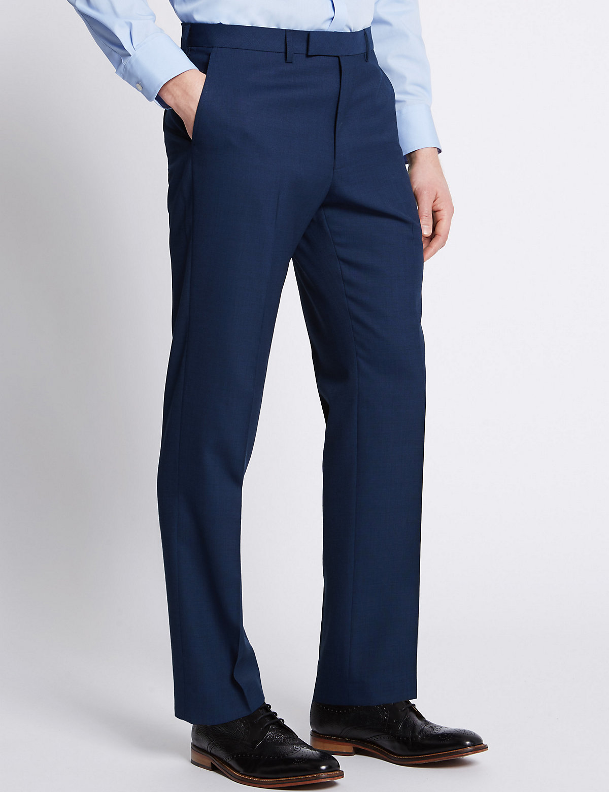 M&S Collection Blue Textured Tailored Fit Trousers