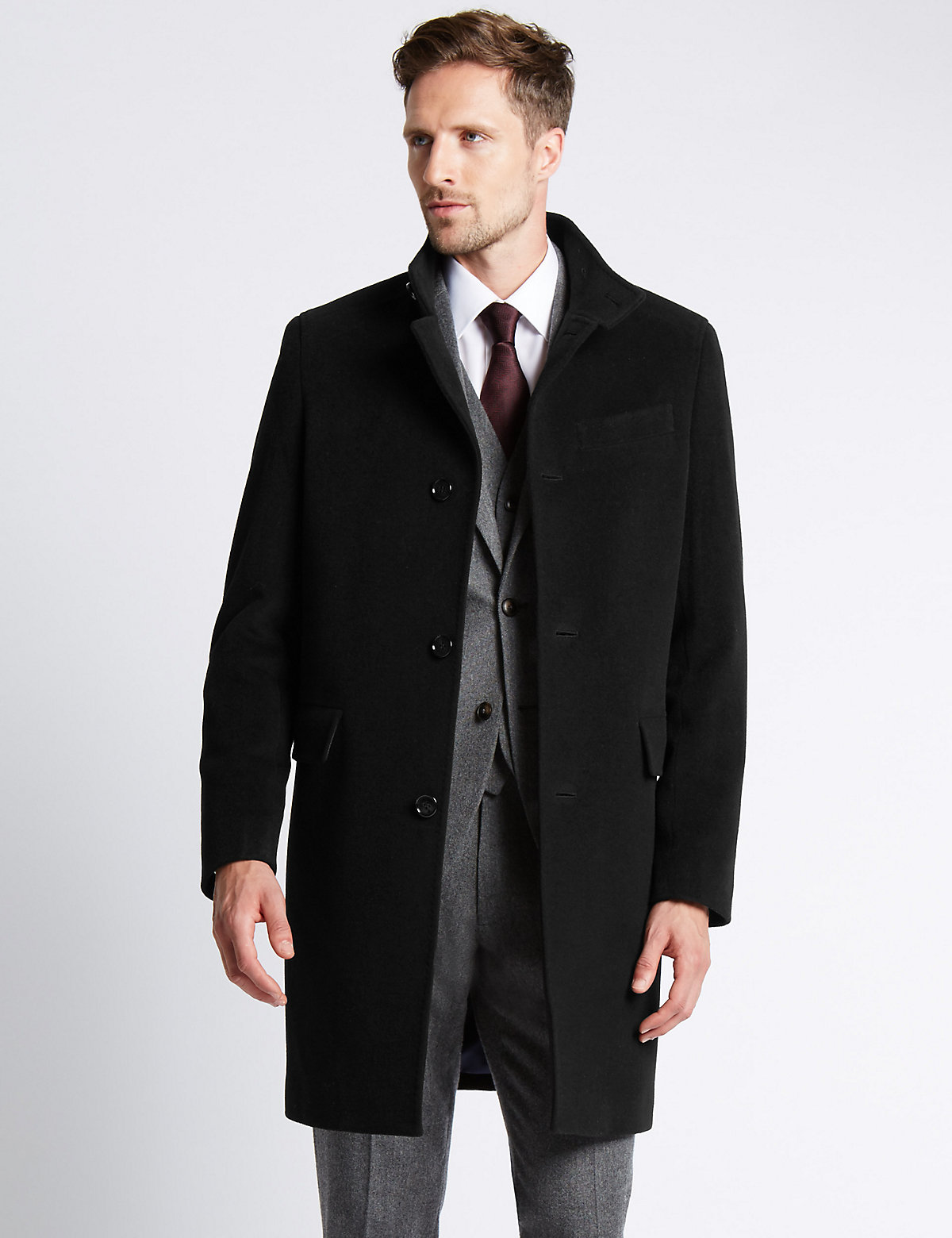 M&S Collection Funnel Neck Coat