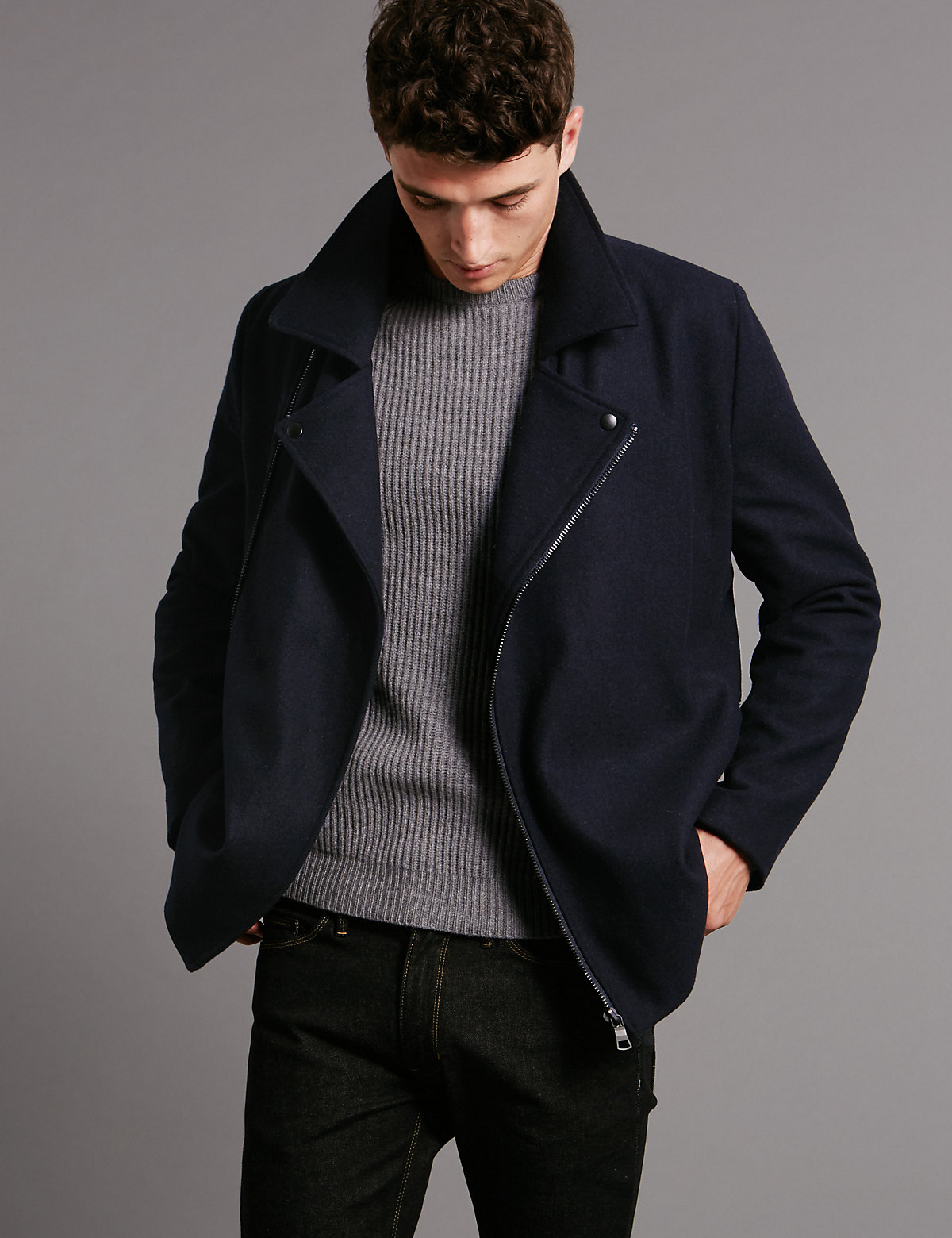 Image of Autograph Wool Blend Tailored Fit Asymmetric Peacoat