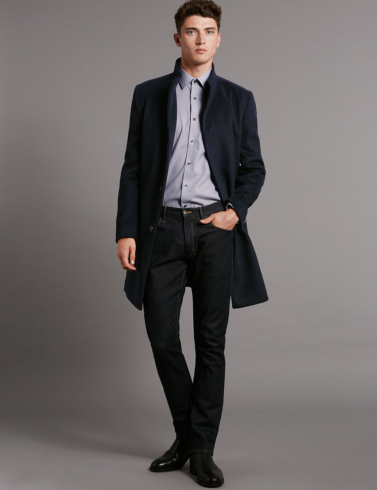 Image of Autograph Tailored Fit Funnel Neck Coat with Wool