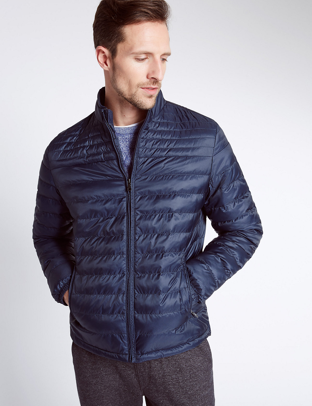 Image of M&S Collection Printed Quilted Jacket with Stormwear