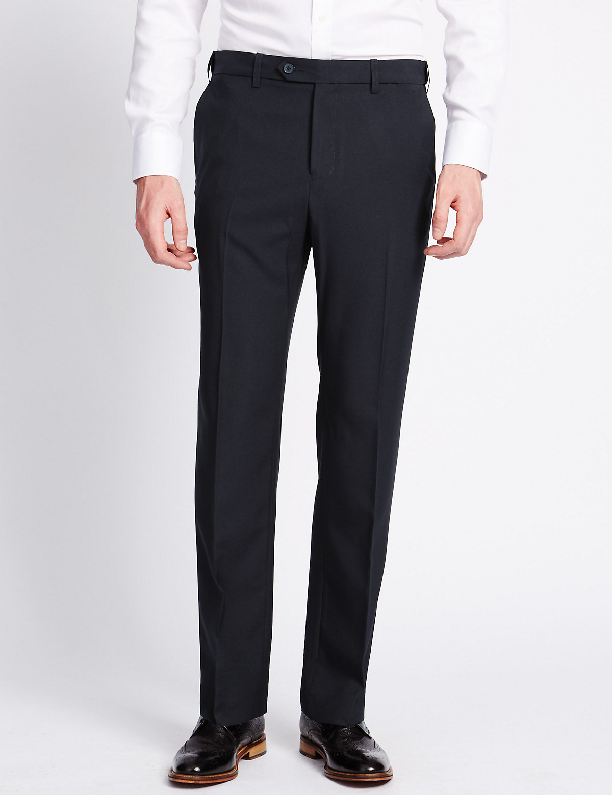 Image of M&S Collection Shorter Length Flat Front Trousers