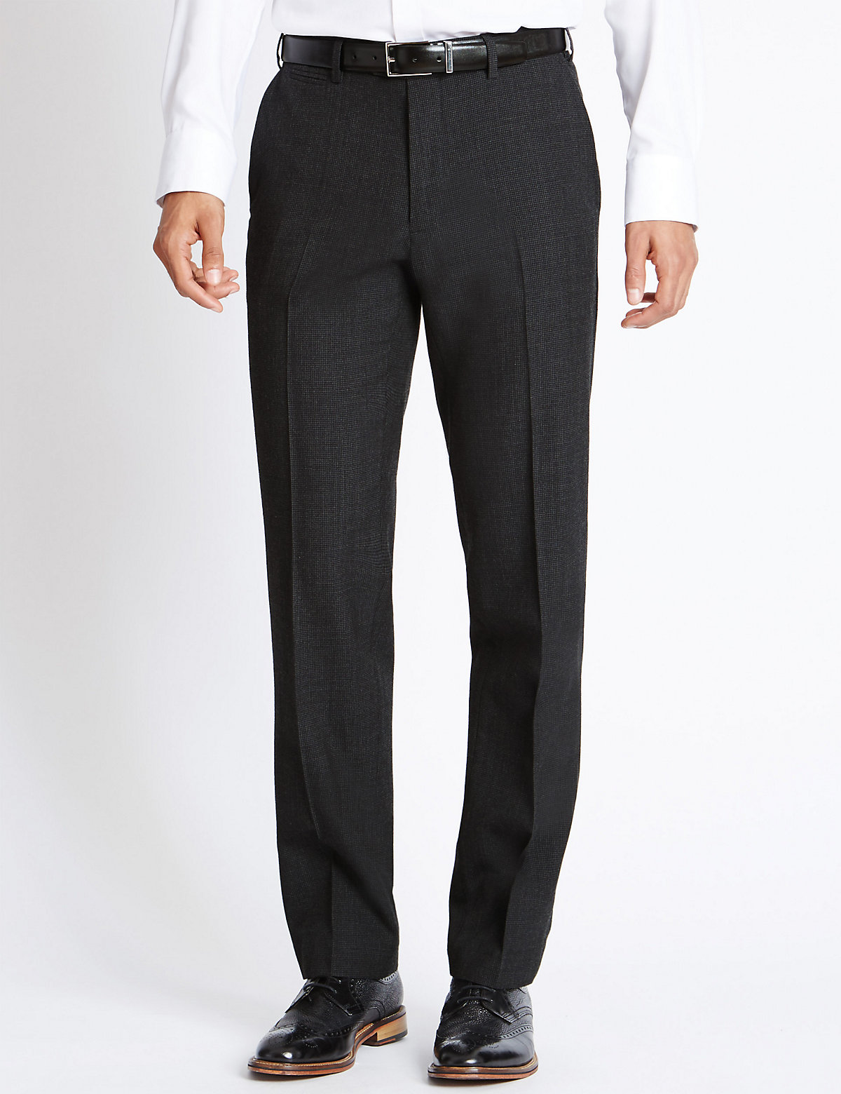 M&S Collection Wool Blend Supercrease Flat Front Trousers with Stormwear
