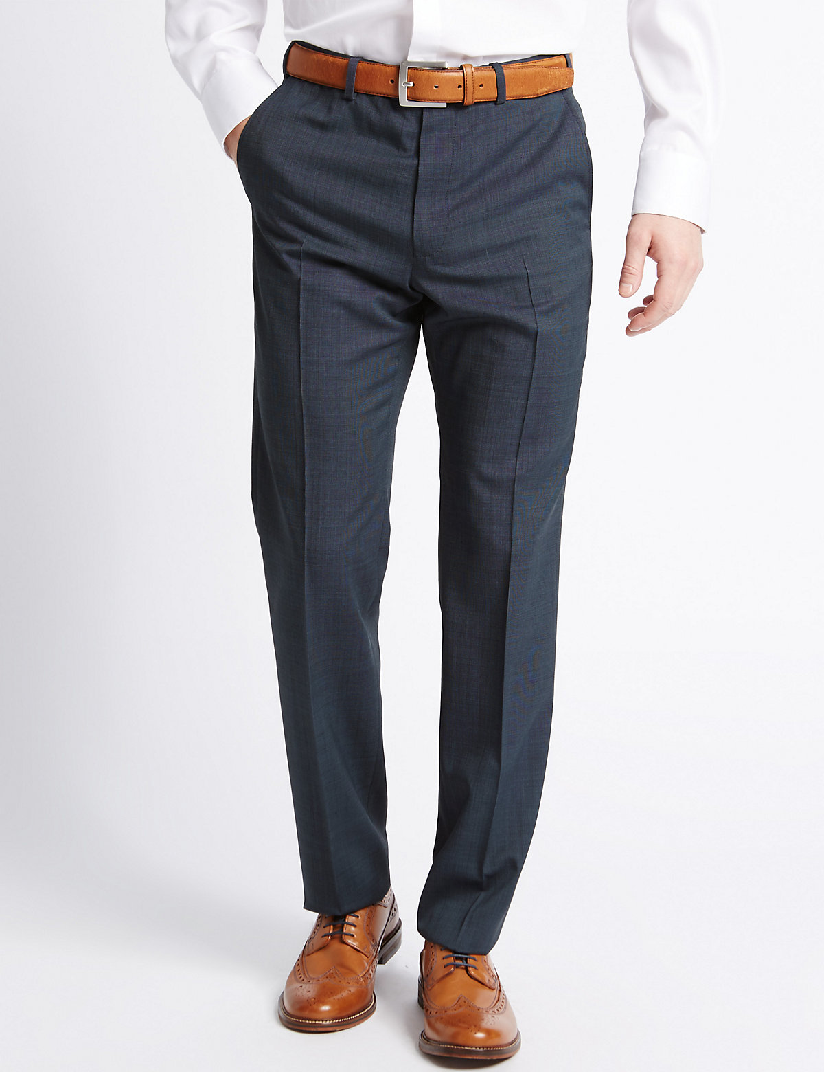 M&S Collection Tailored Fit Wool Blend Textured Trousers