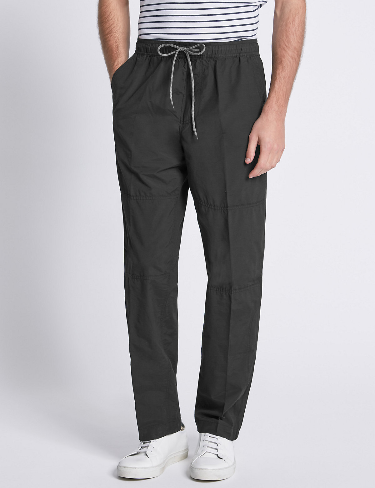 Image of M&S Collection Cotton Rich Pull On Trousers