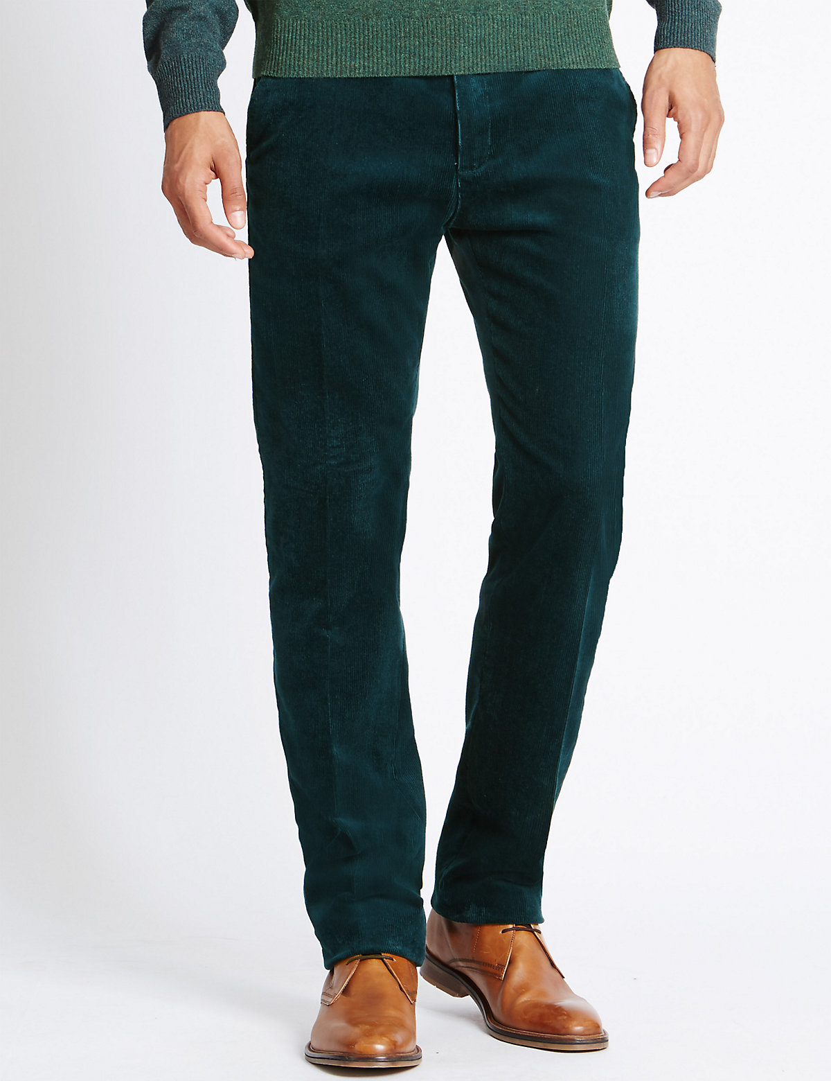 Image of M&S Collection Cotton Rich Corduroy Trousers with Stormwear
