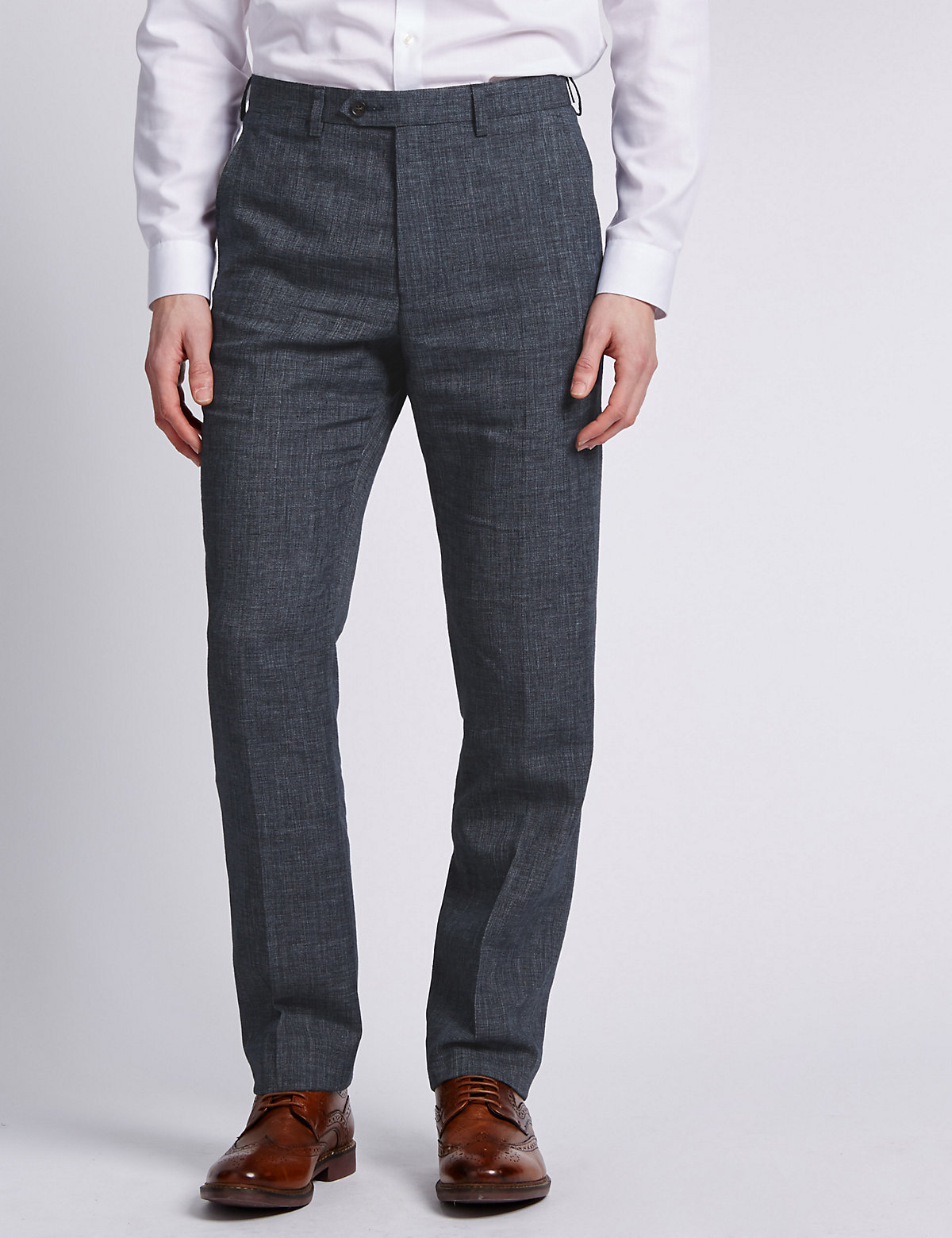 M&S Collection Flat Front Textured Trousers