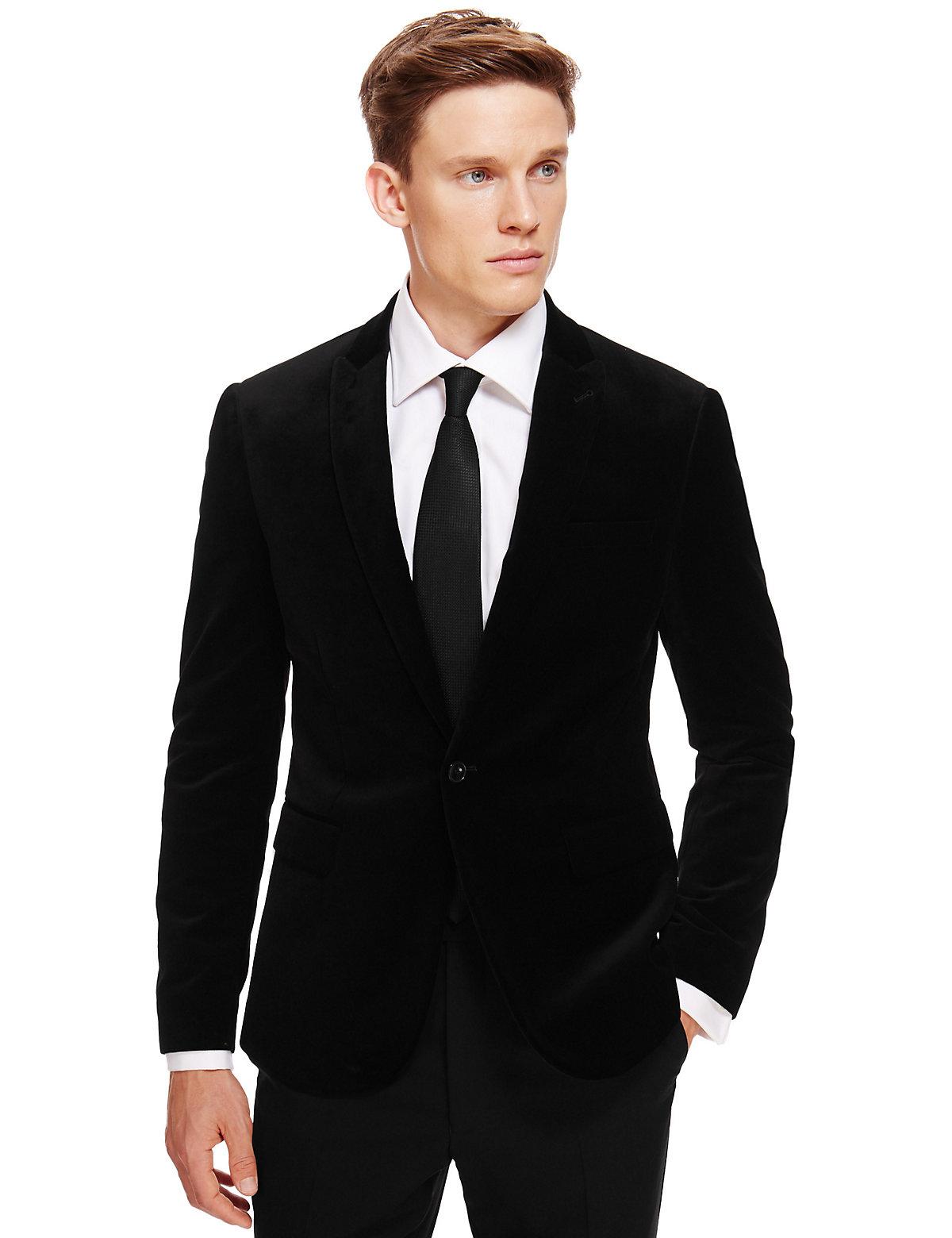 MS Mens Suit BLACK Autograph Pure Cotton Slim Fit Buttonsafe 2 Button Velvet Jacket Black 44Medium