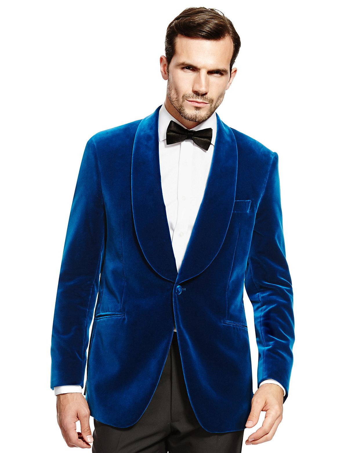 Luxury Sartorial Pure Cotton Tailored Fit Velvet Shawl Collar Blazer $199.00 AT vintagedancer.com