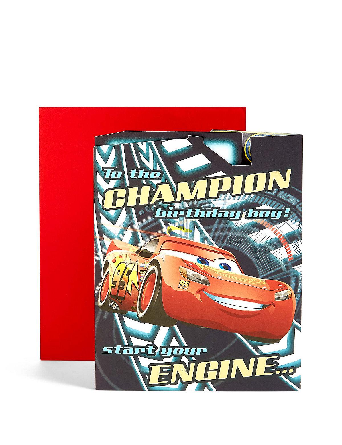 Pop-Up Cars Racing Track Scene Birthday Card