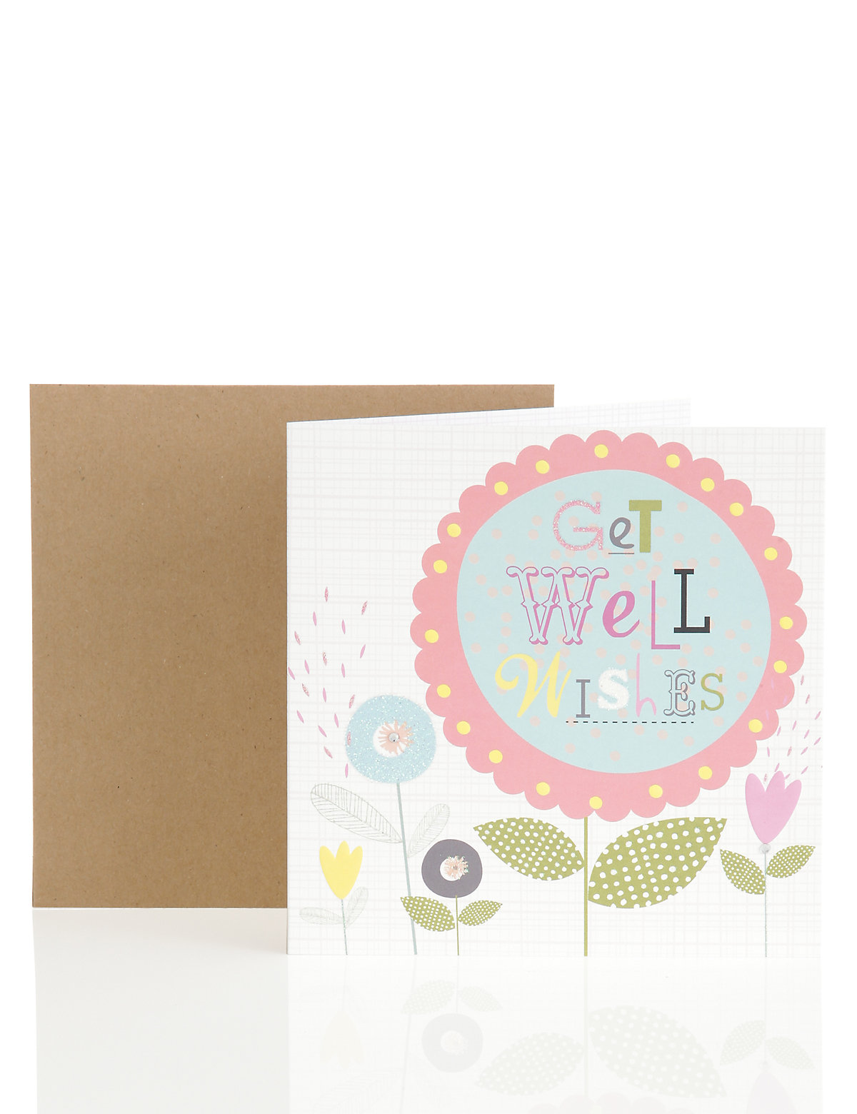Flowers and Glitter Get Well Wishes Card
