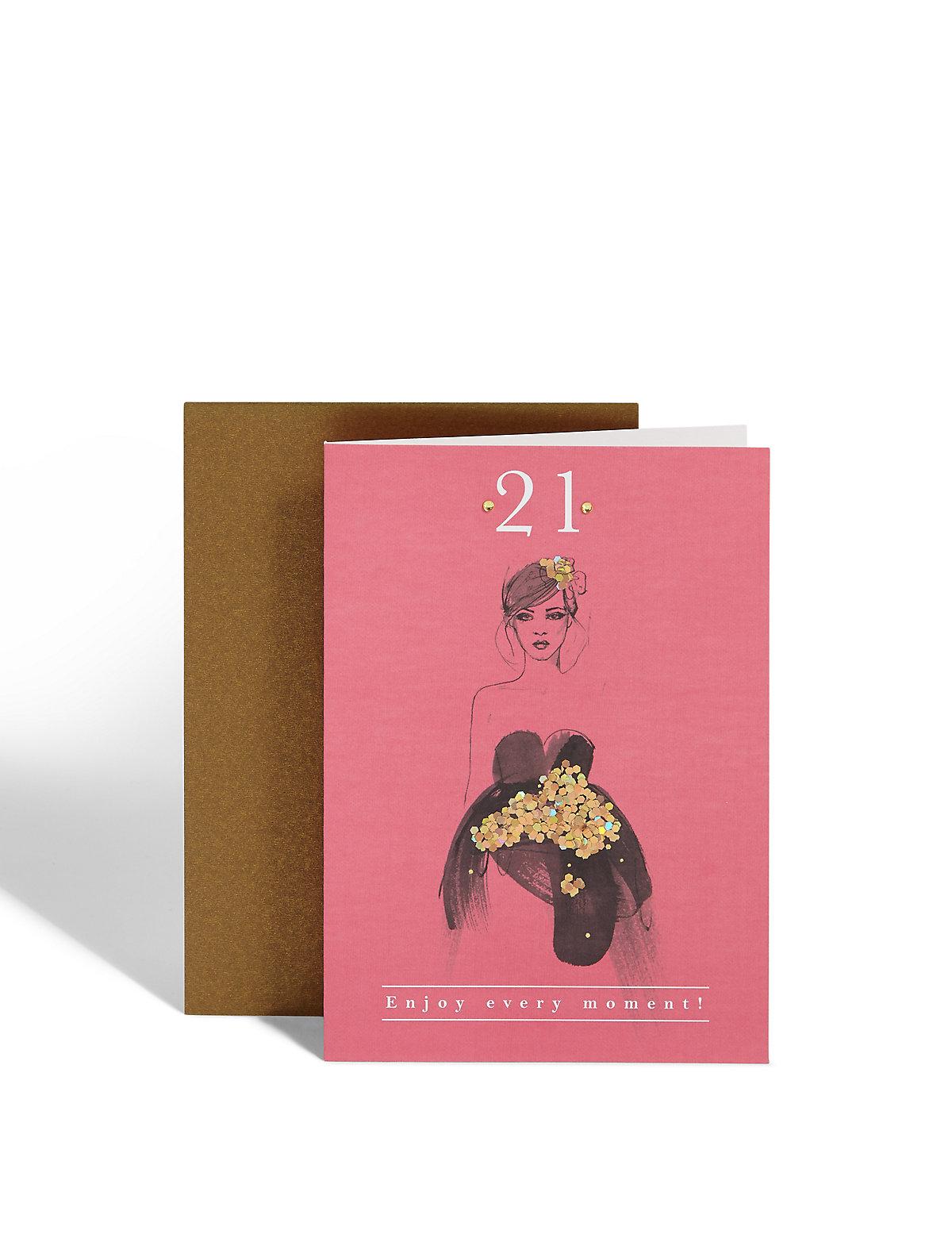 Age 21 Stylish Dress Birthday Card