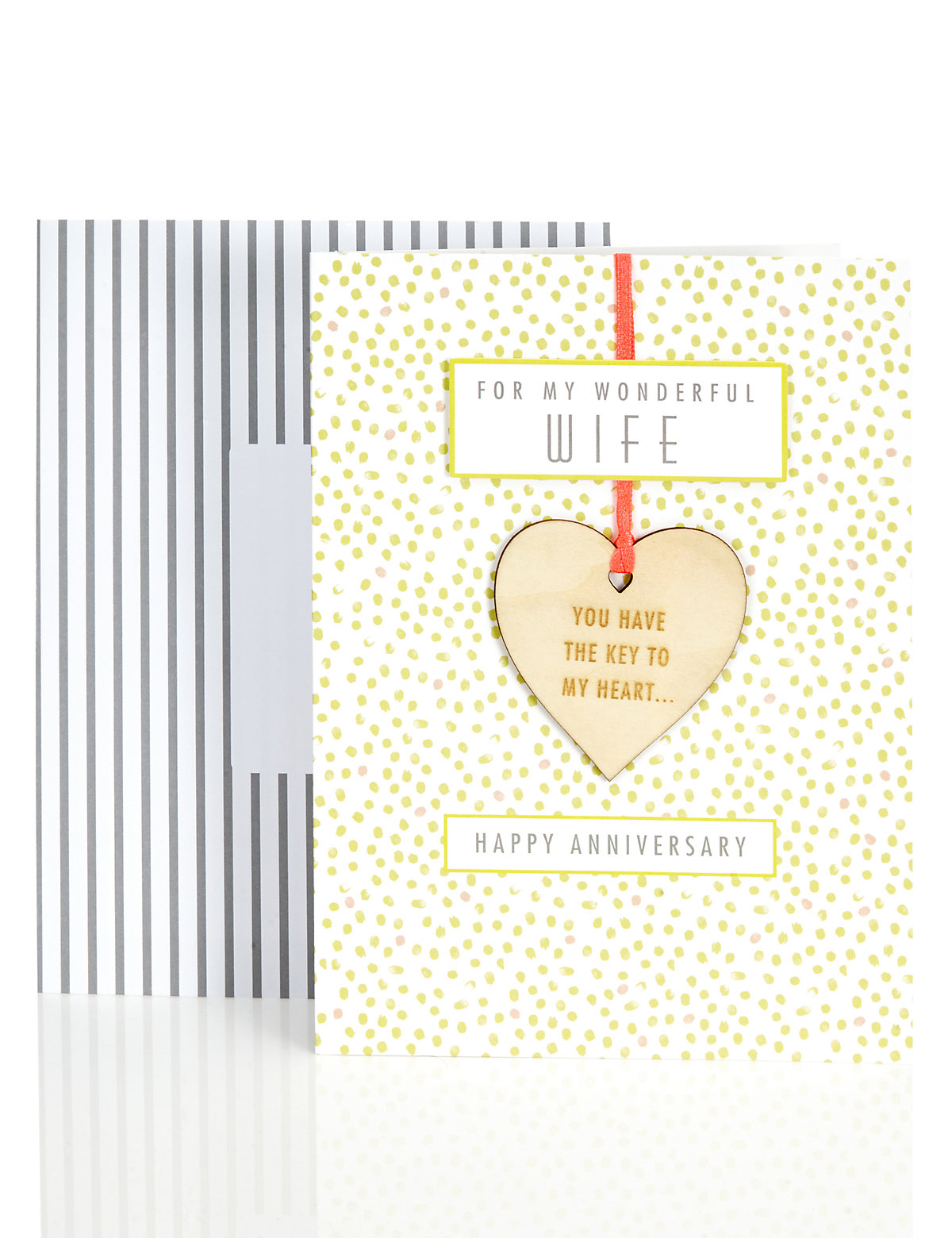 Wife Wooden Heart Anniversary Card