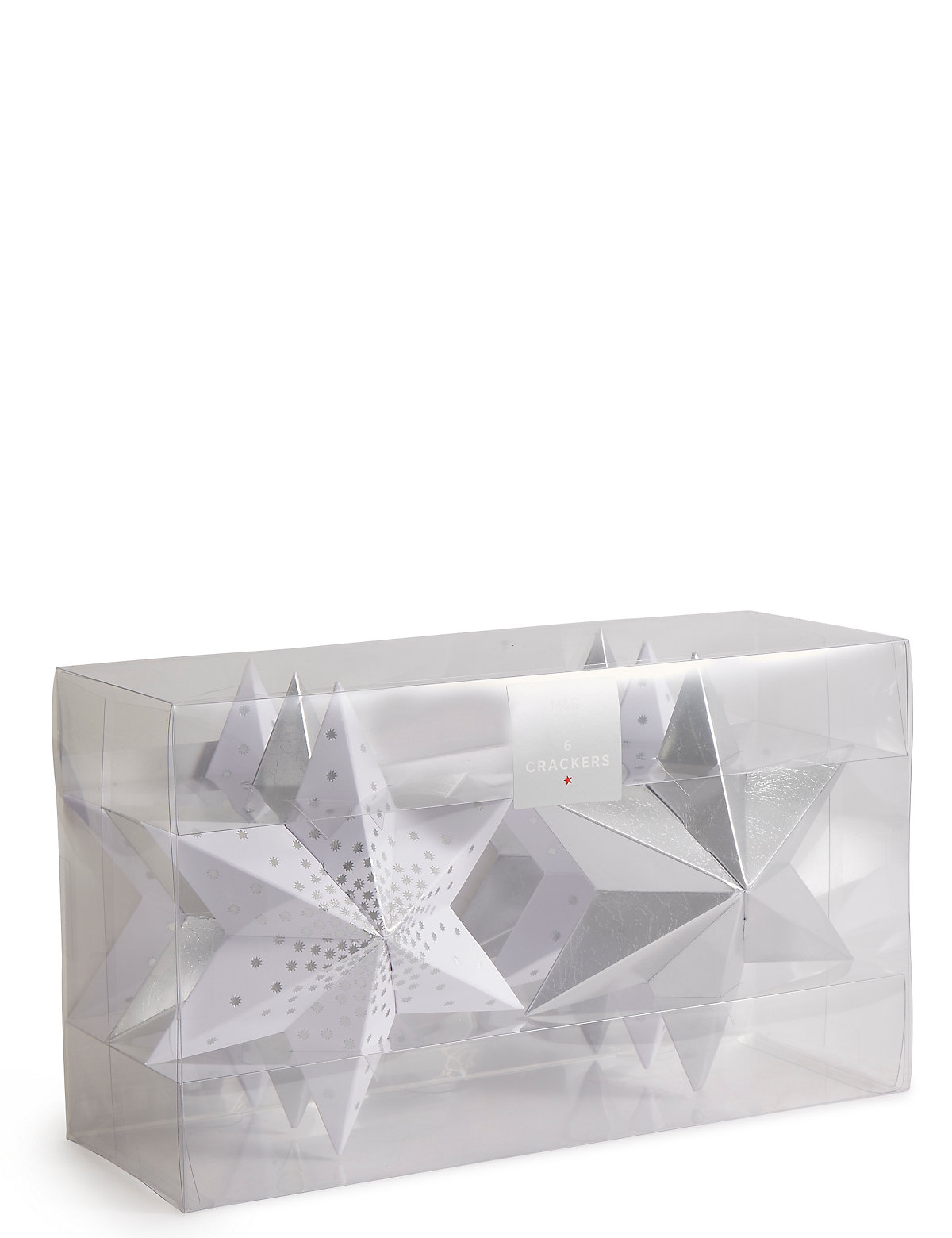 Silver Star Christmas Crackers Pack of 6