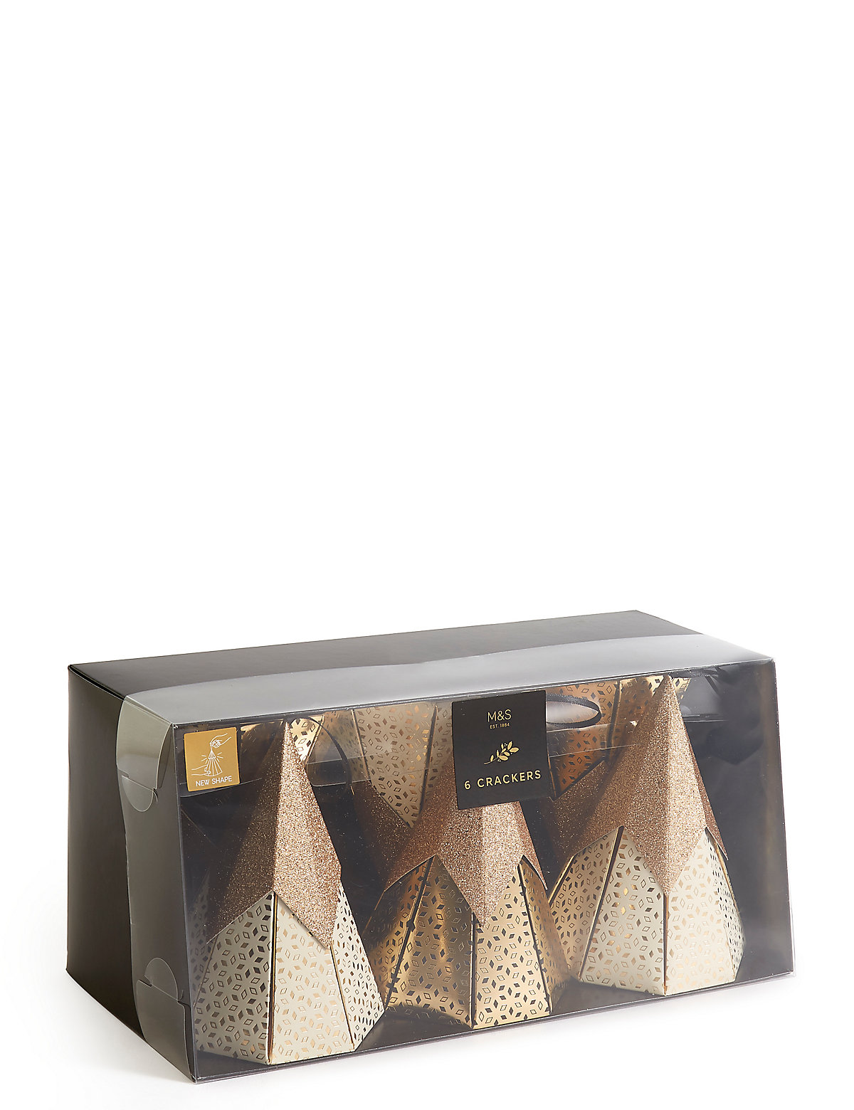 Gold Cone Tree Christmas Crackers Pack of 6
