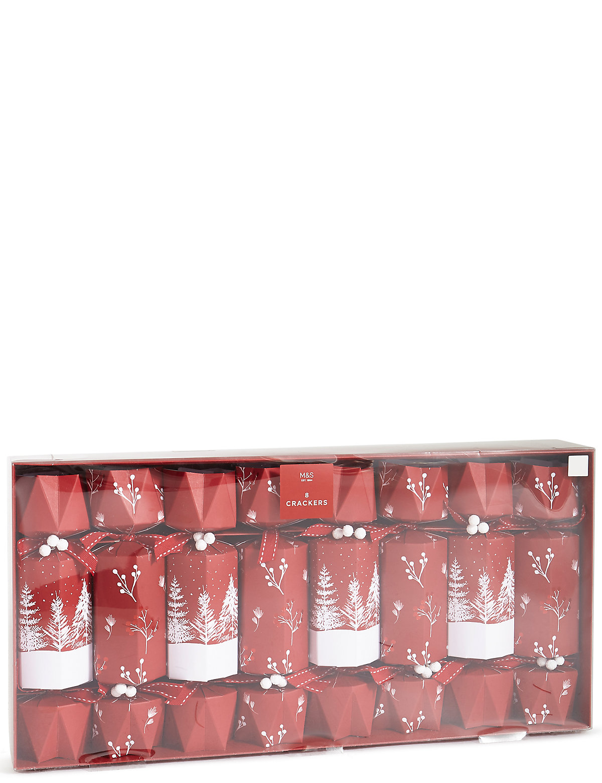 Luxury Red Trees Christmas Crackers Pack of 8