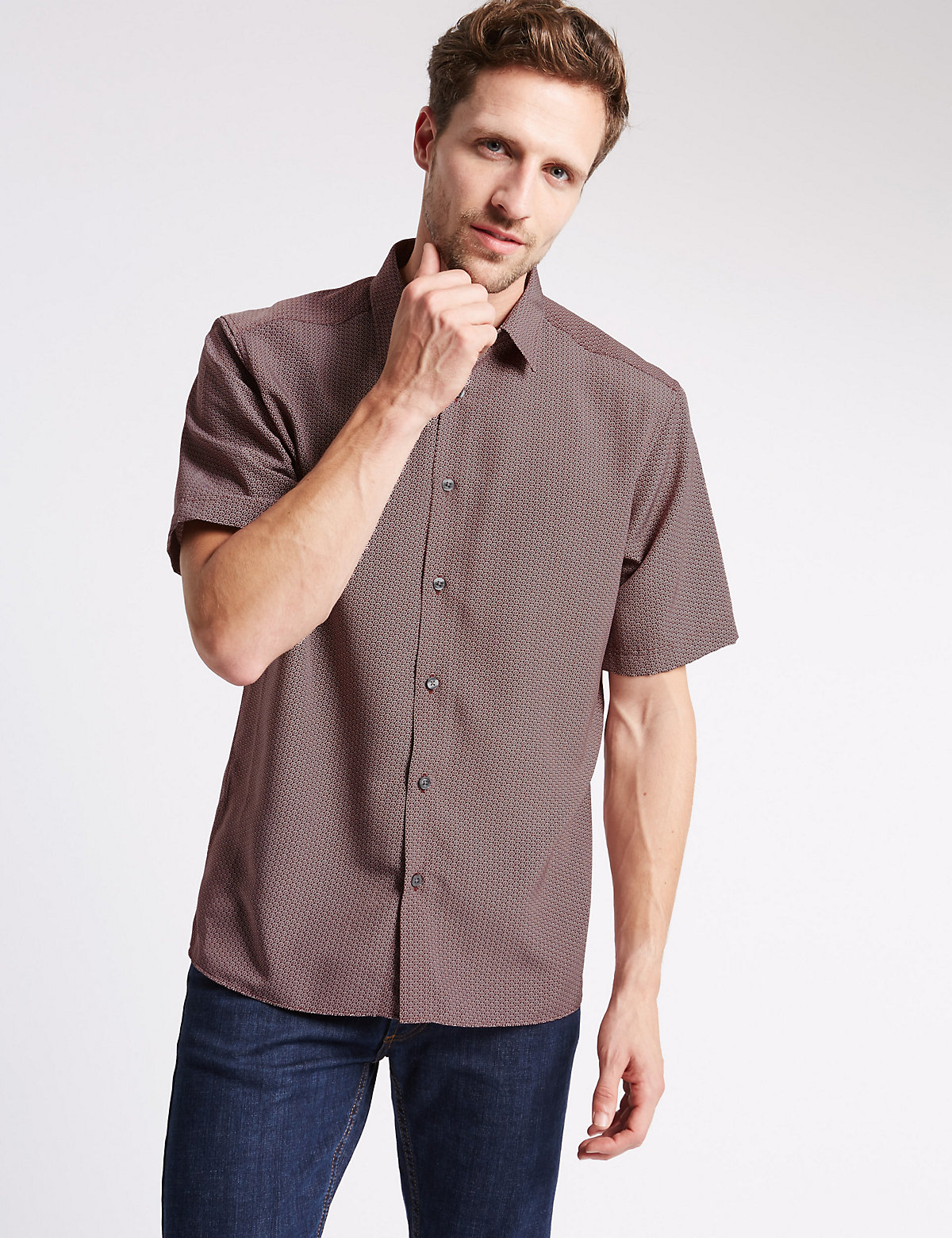 Image of M&S Collection Short Sleeve Soft Touch Shirt