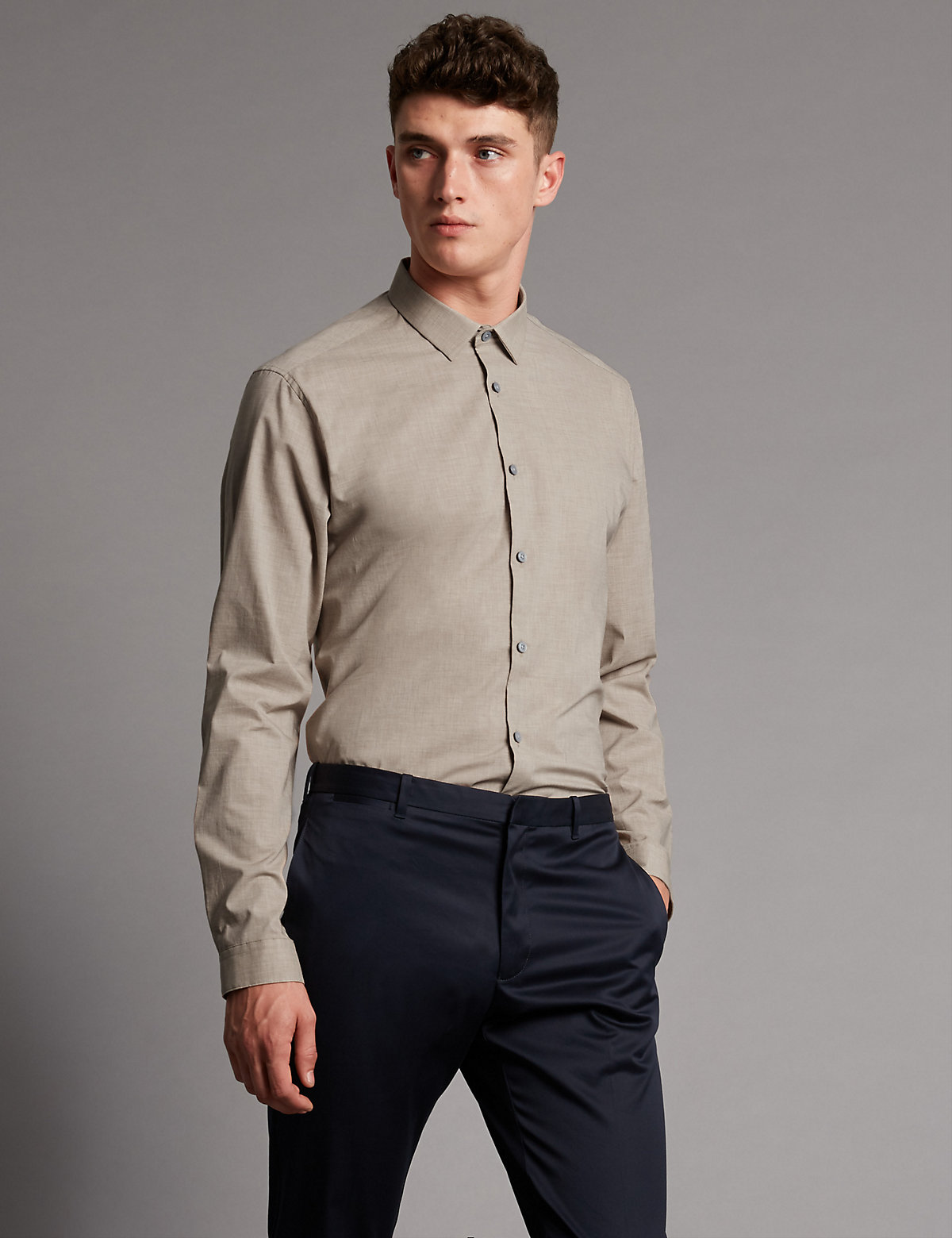 Image of Autograph Luxury Supima Cotton Tailored Fit Shirt