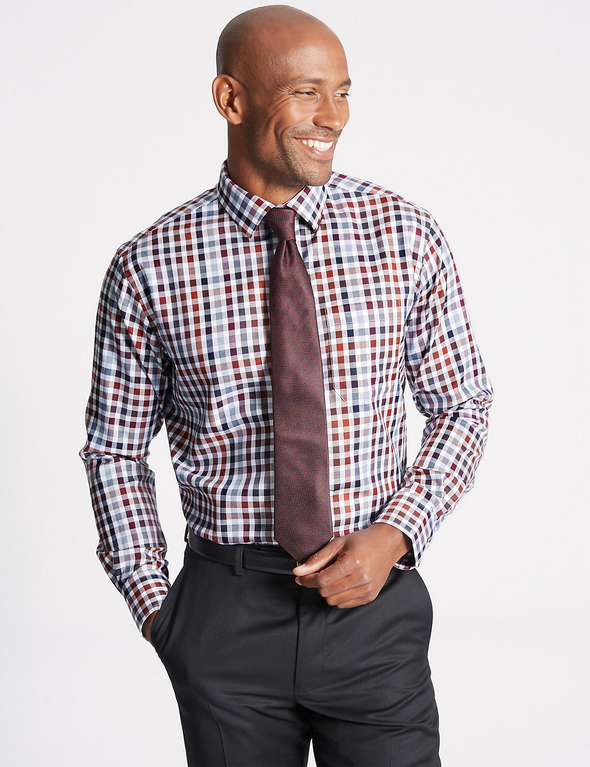 M&S Collection Luxury Pure Cotton Checked Shirt