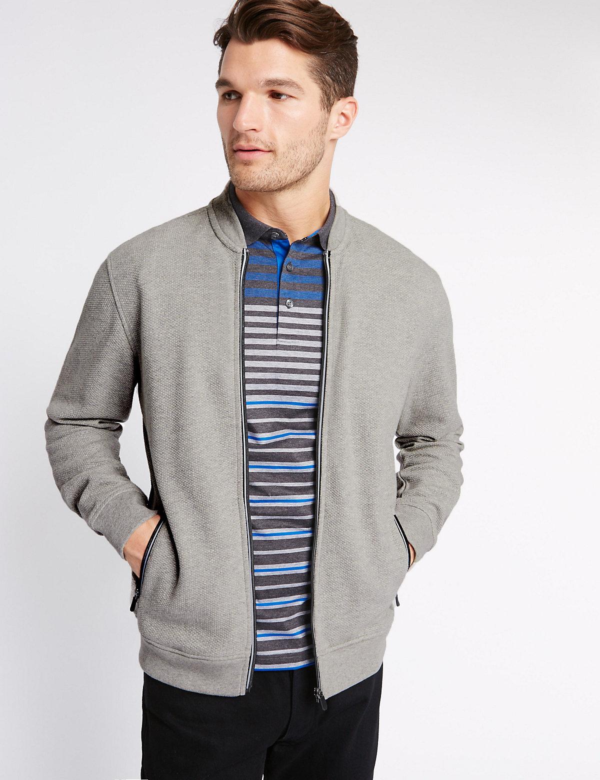 Image of Blue Harbour Pure Cotton Textured Baseball Sweatshirt