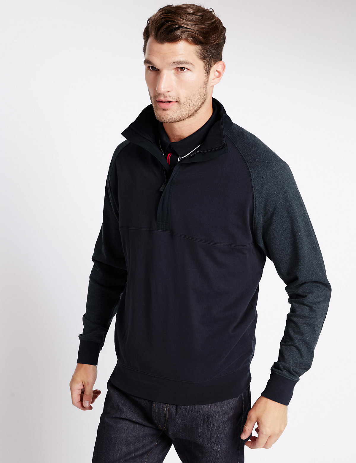 Image of Blue Harbour Pure Cotton Tailored Fit Sweatshirt