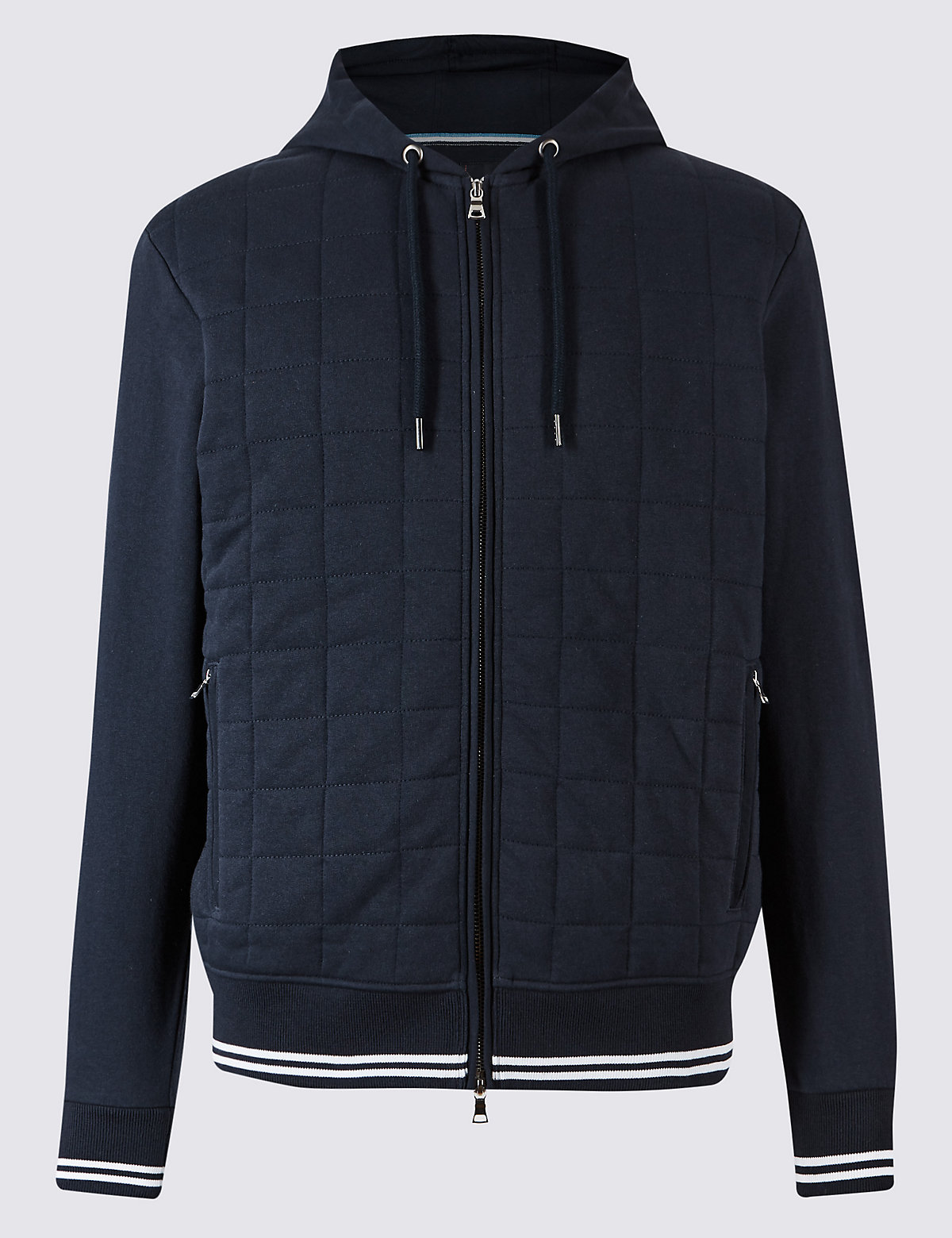 Blue Harbour Cotton Rich Quilted Hooded Top