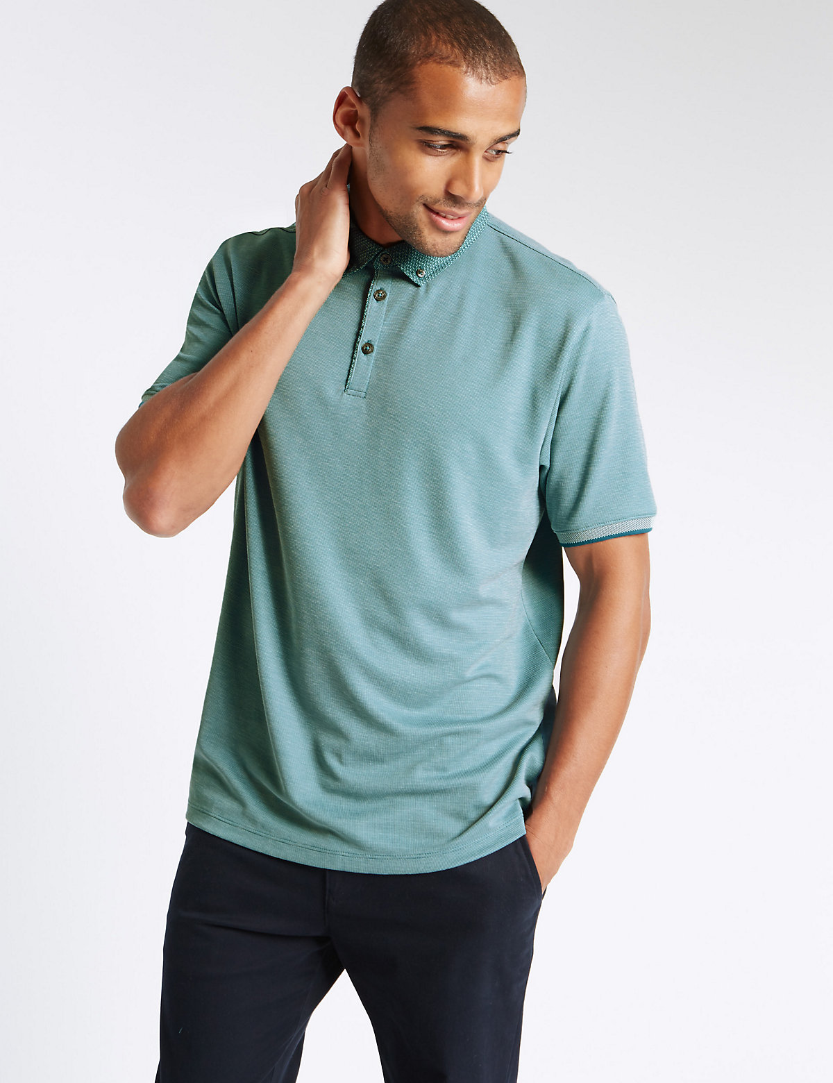 M&S Collection Textured Polo Shirt