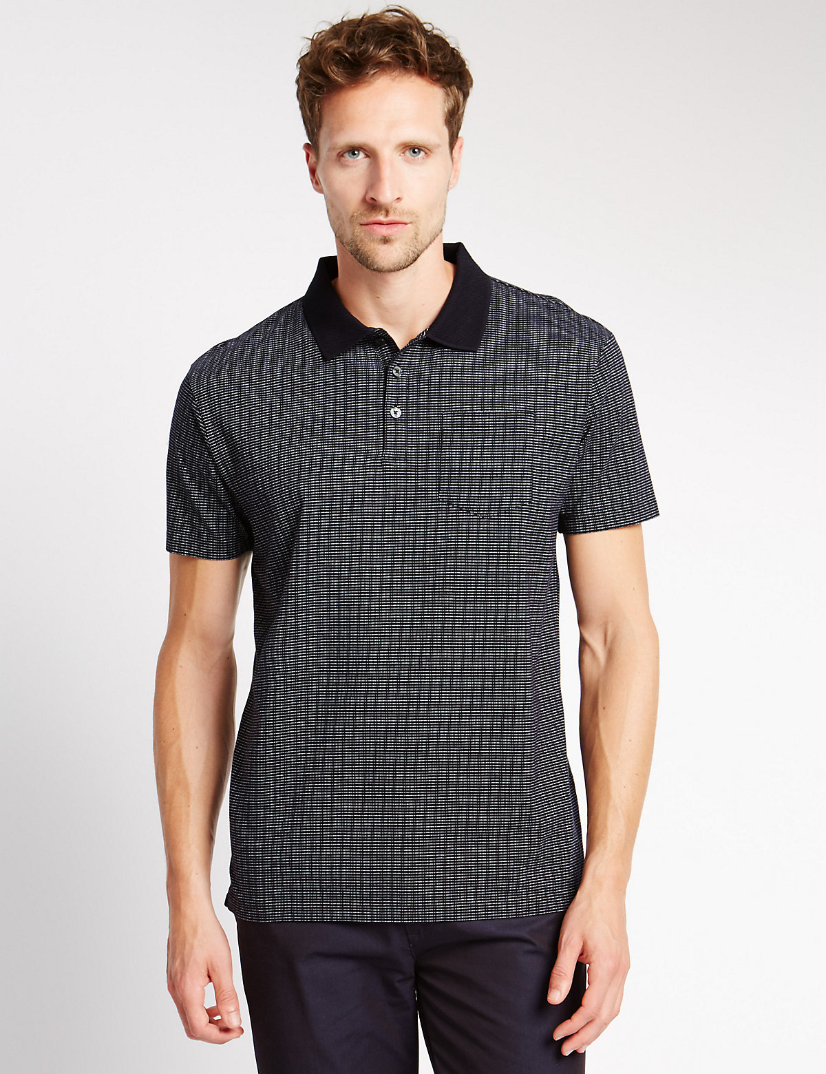 M&S Collection Pure Cotton Tailored Fit Textured Polo Shirt
