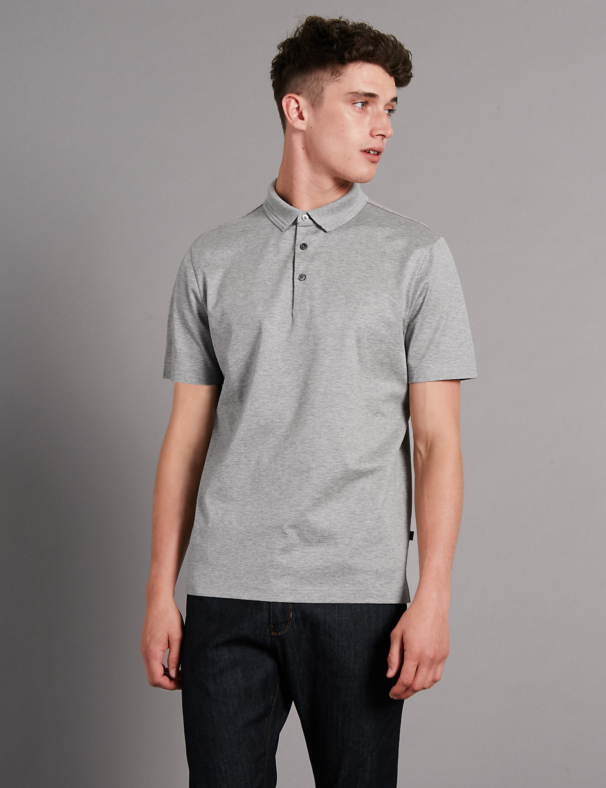 Image of Autograph Supima Cotton Tailored Fit Bubble Tex Polo Shirt