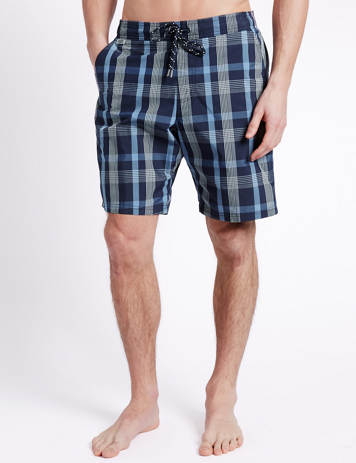 M&S Collection Quick Dry Checked Swim Shorts