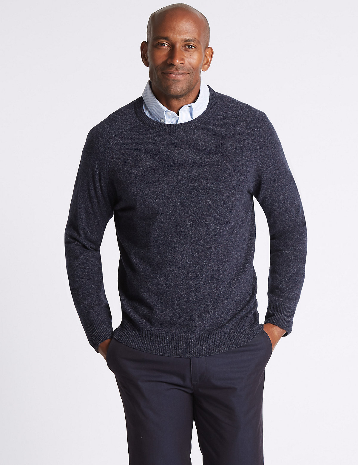 M&S Collection Pure Lambswool Textured Crew Neck Jumper