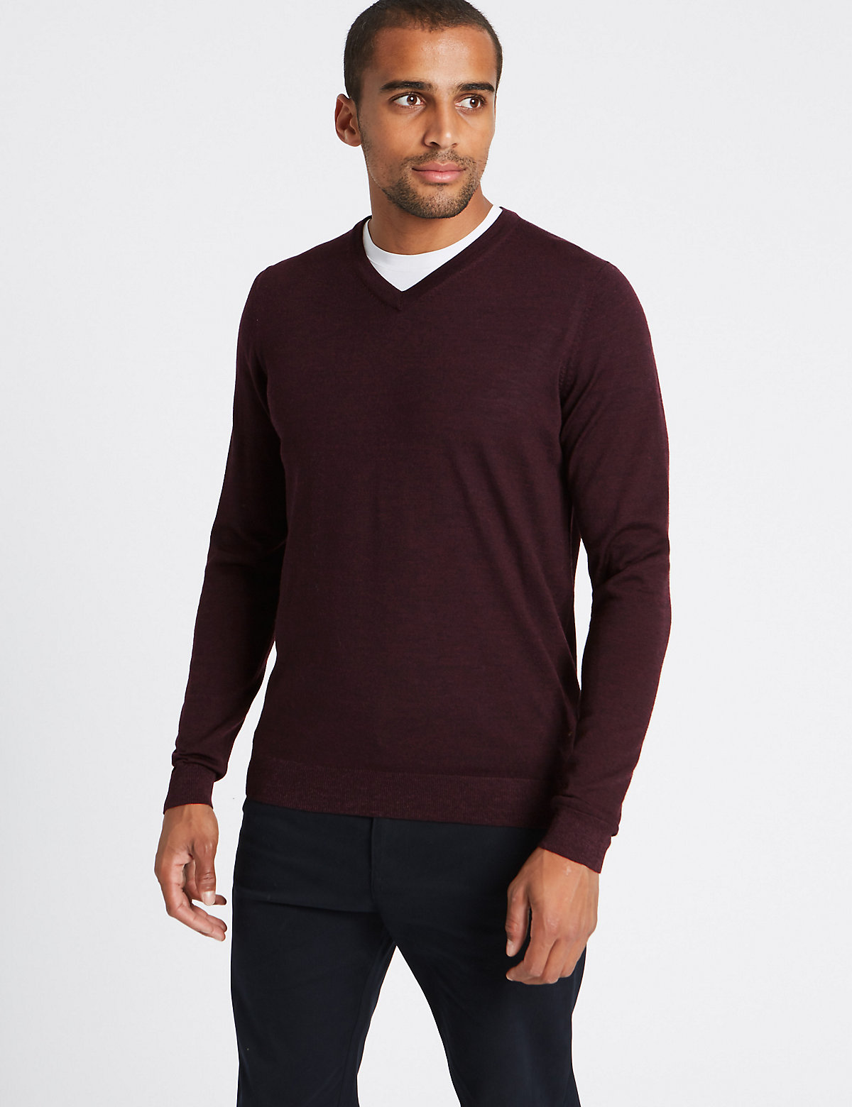 M&S Collection Pure Merino Wool V-Neck Jumper
