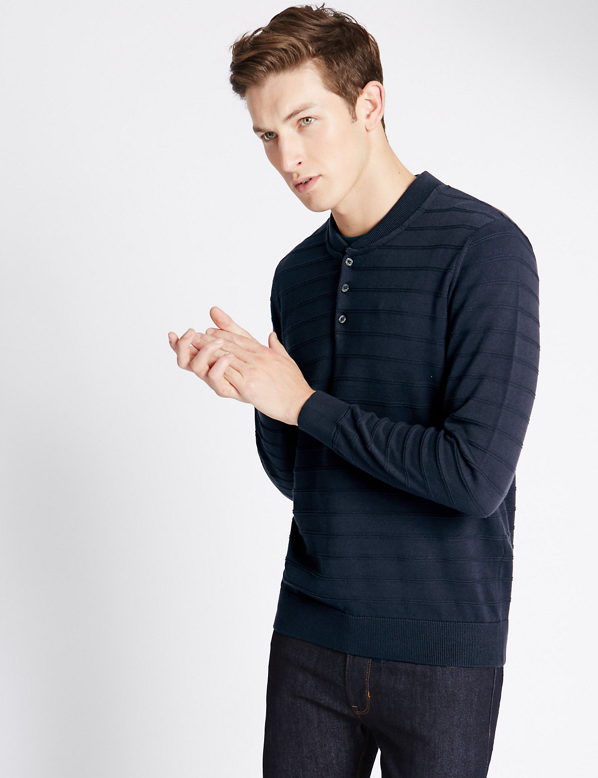 Image of Limited Edition Pure Cotton Self Striped Baseball Jumper