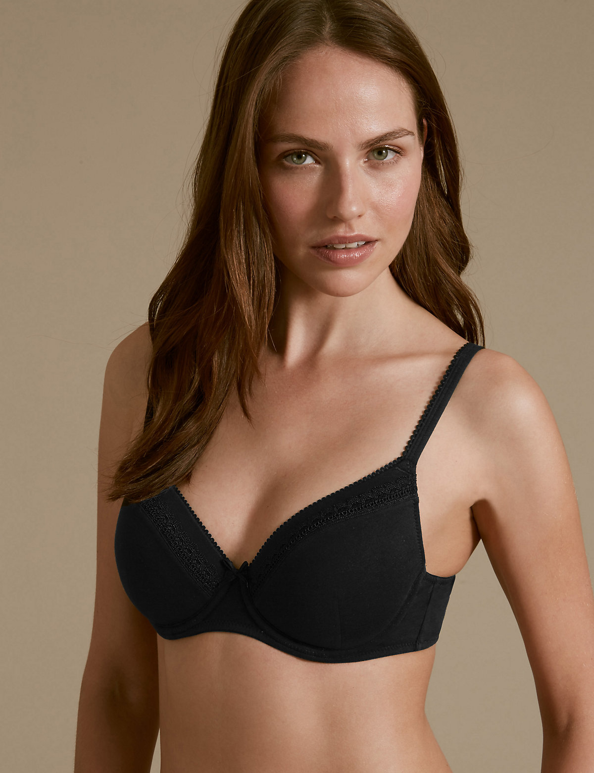 M&s Collection 2 Pack Lace Trim Padded Underwired Full Cup T-shirt Bras A-e