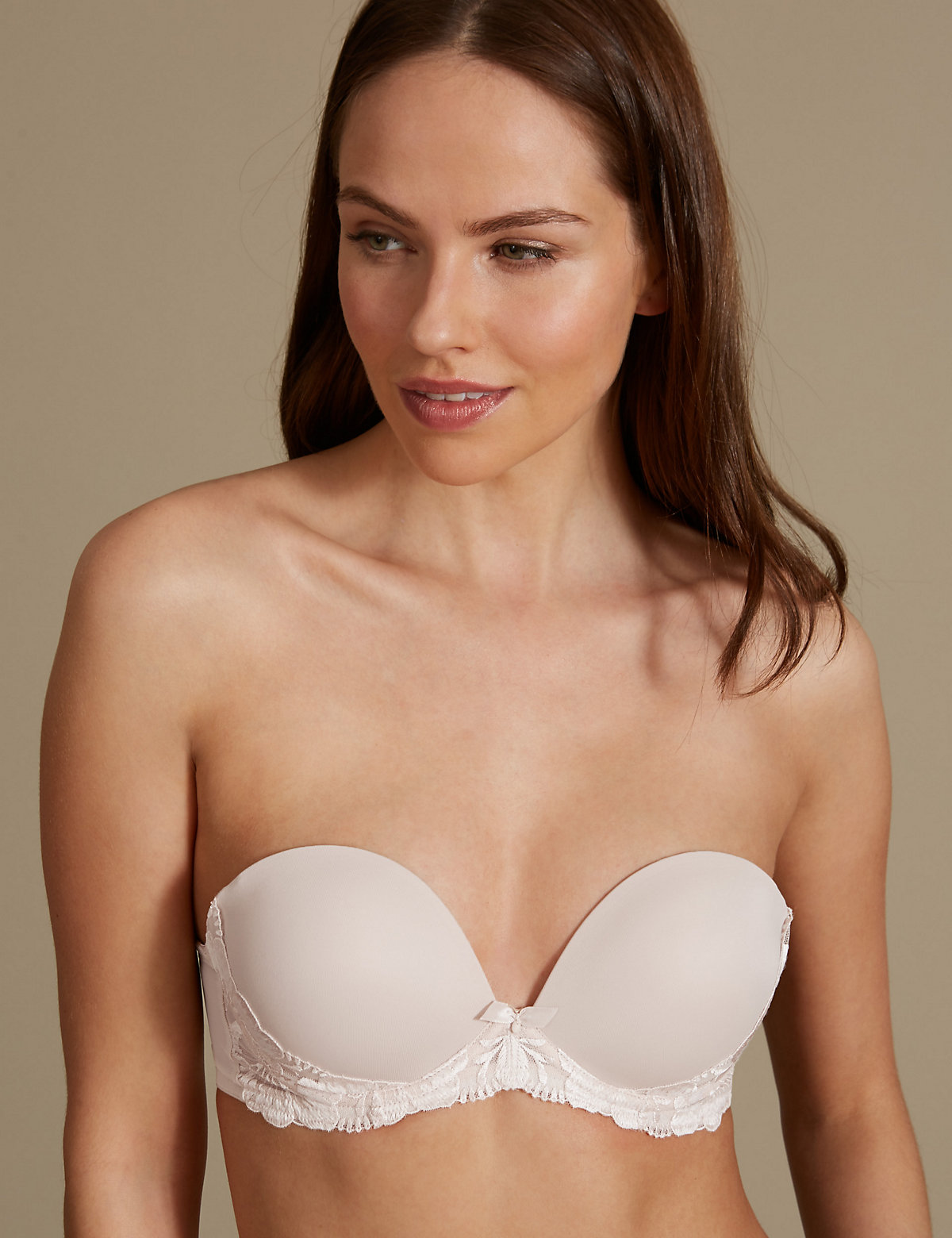 M&S Collection Floral Embroidered Padded Push-up Strapless Bra A-E