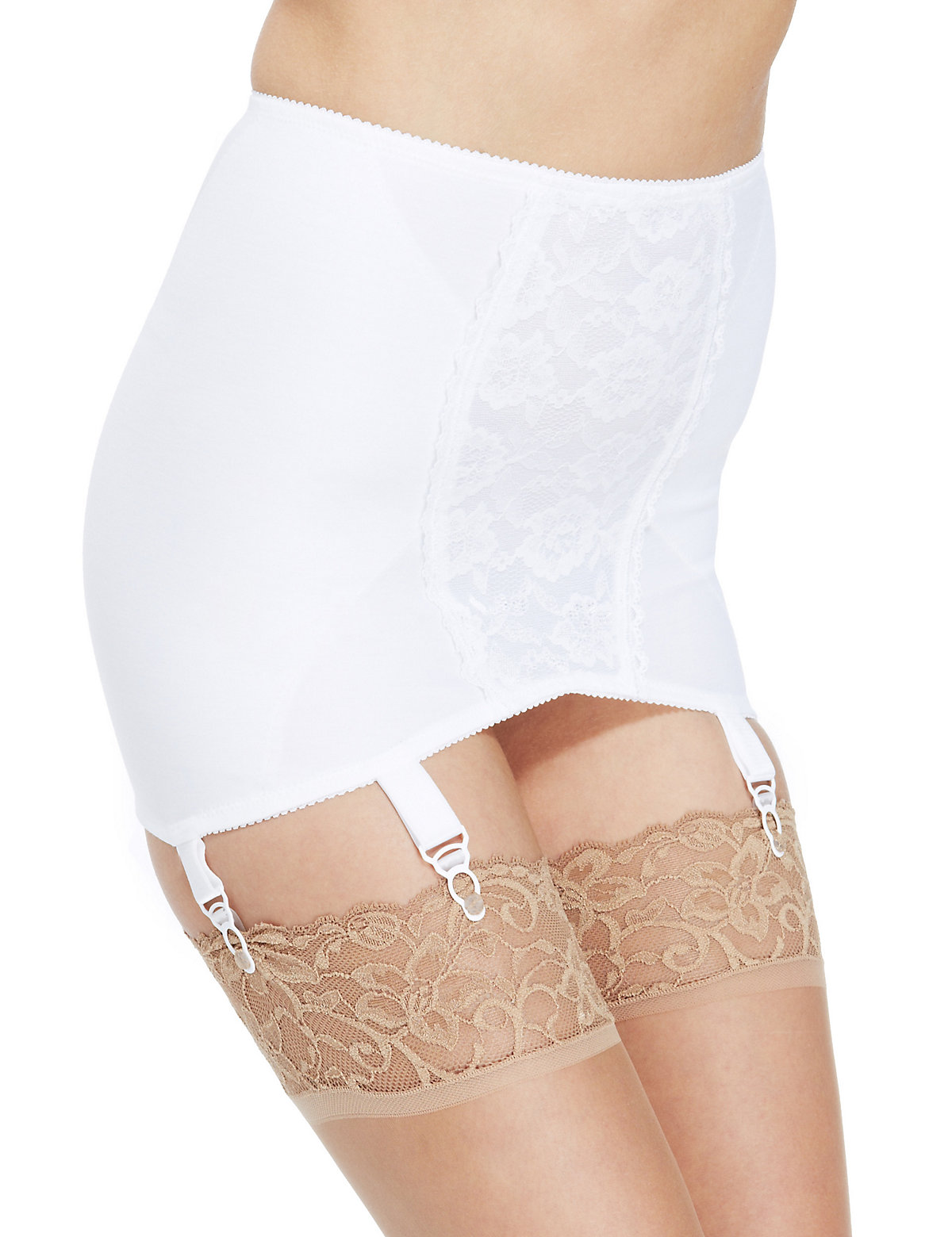 M&S Collection Firm Control Floral Lace Traditional Pull On Girdle
