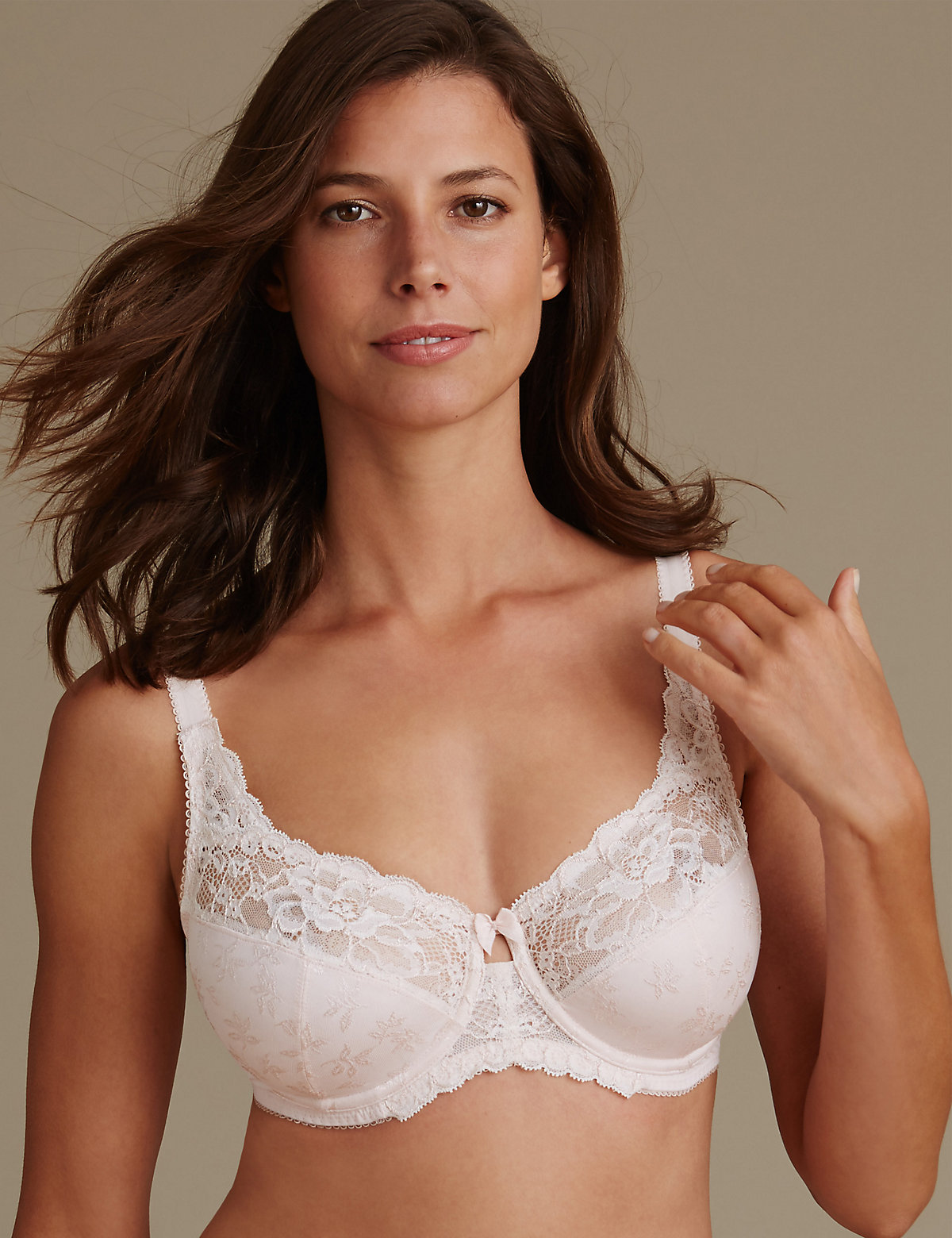 M&S Collection 2 Tone Floral Lace Full Cup Bra DD- H