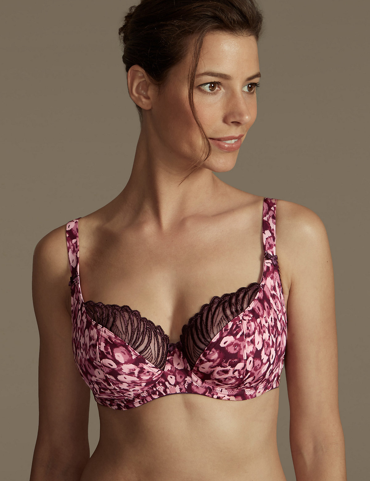 M&S Collection Animal Print Non-Padded Underwired Balcony Bra DD-G