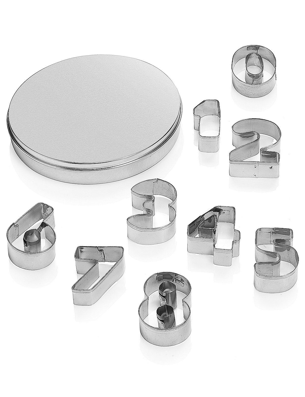 1-9 Numbers Cookie Cutters with Storage Tin